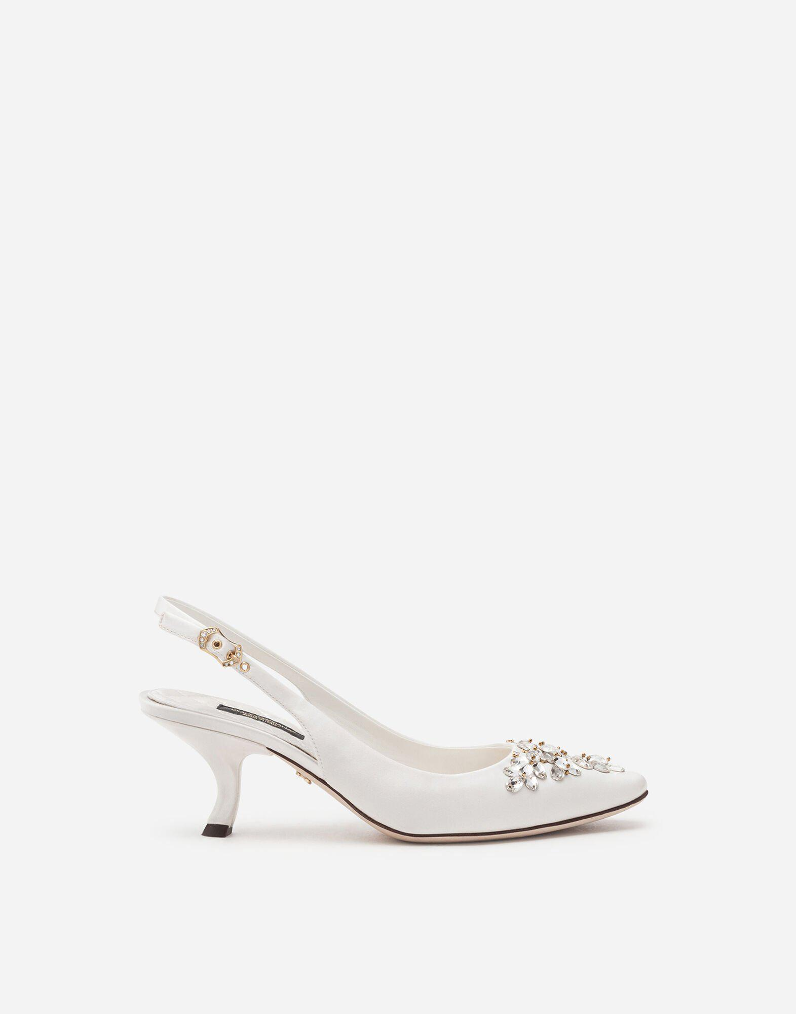 Satin sling back with bejeweled embroidery 0