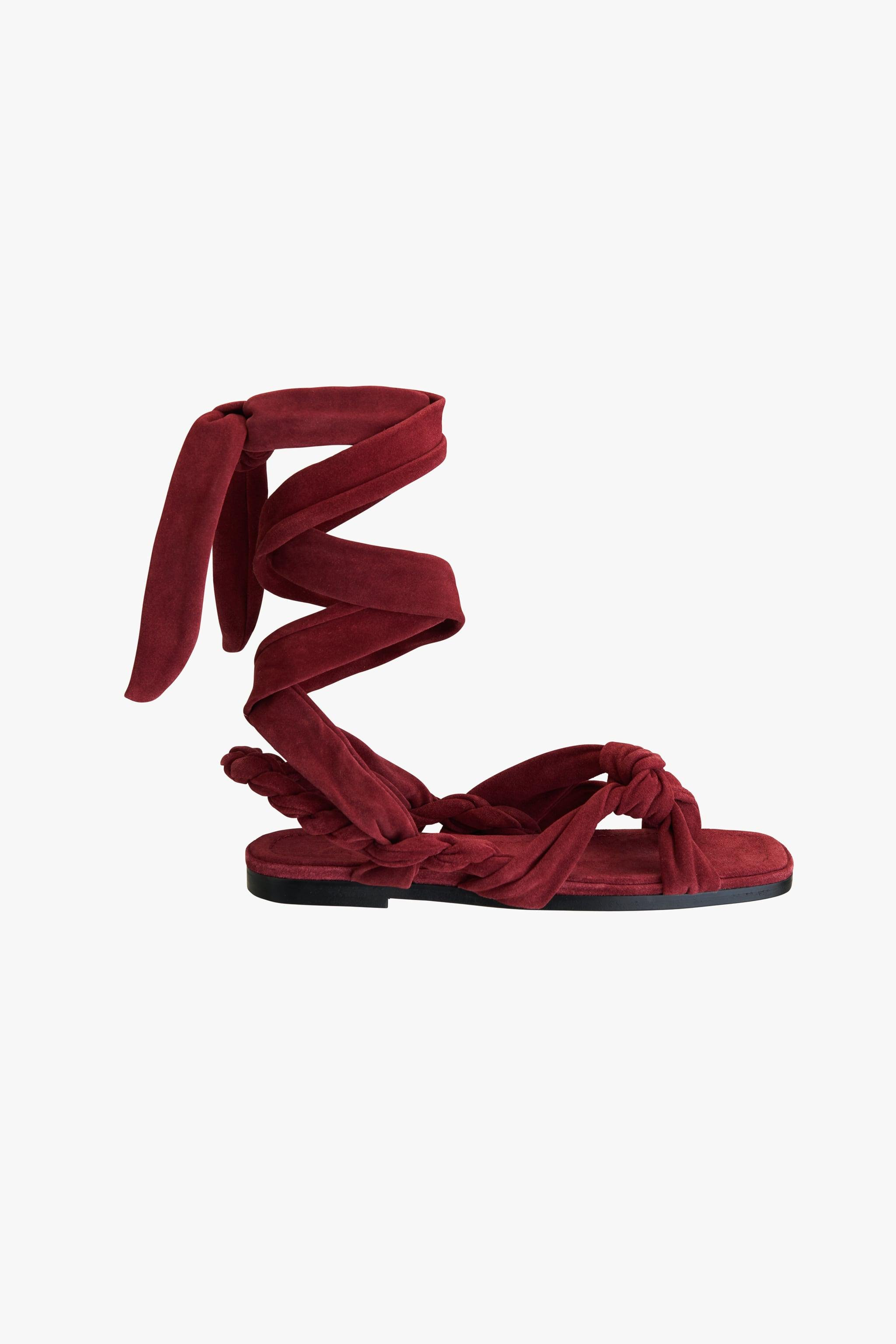 TIED FLAT LEATHER SANDALS 3
