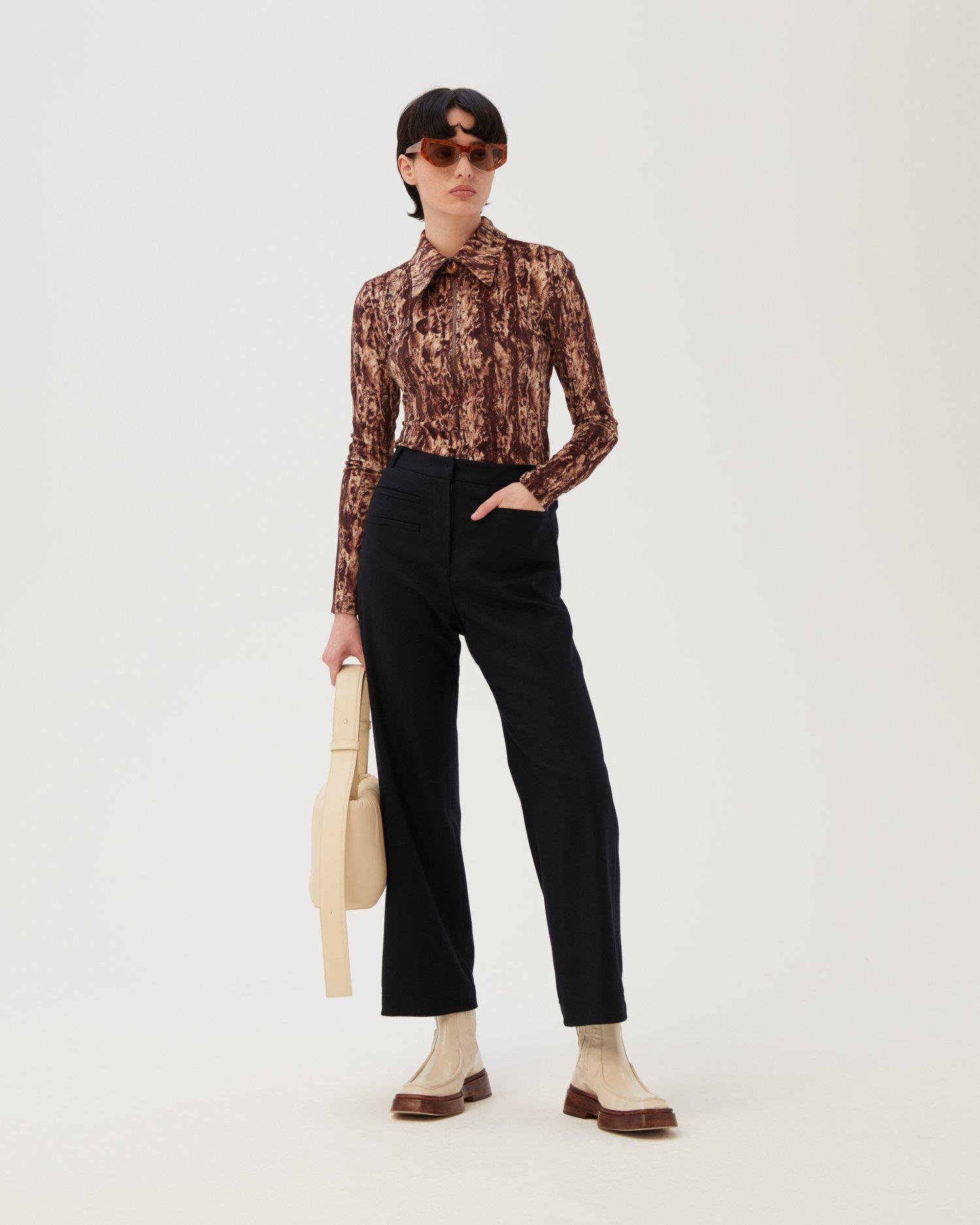 Camilla Trousers Wool Blend Navy