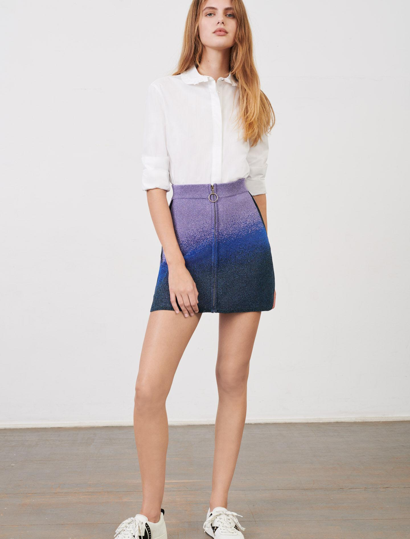 LUREX KNITTED SKIRT WITH ZIP