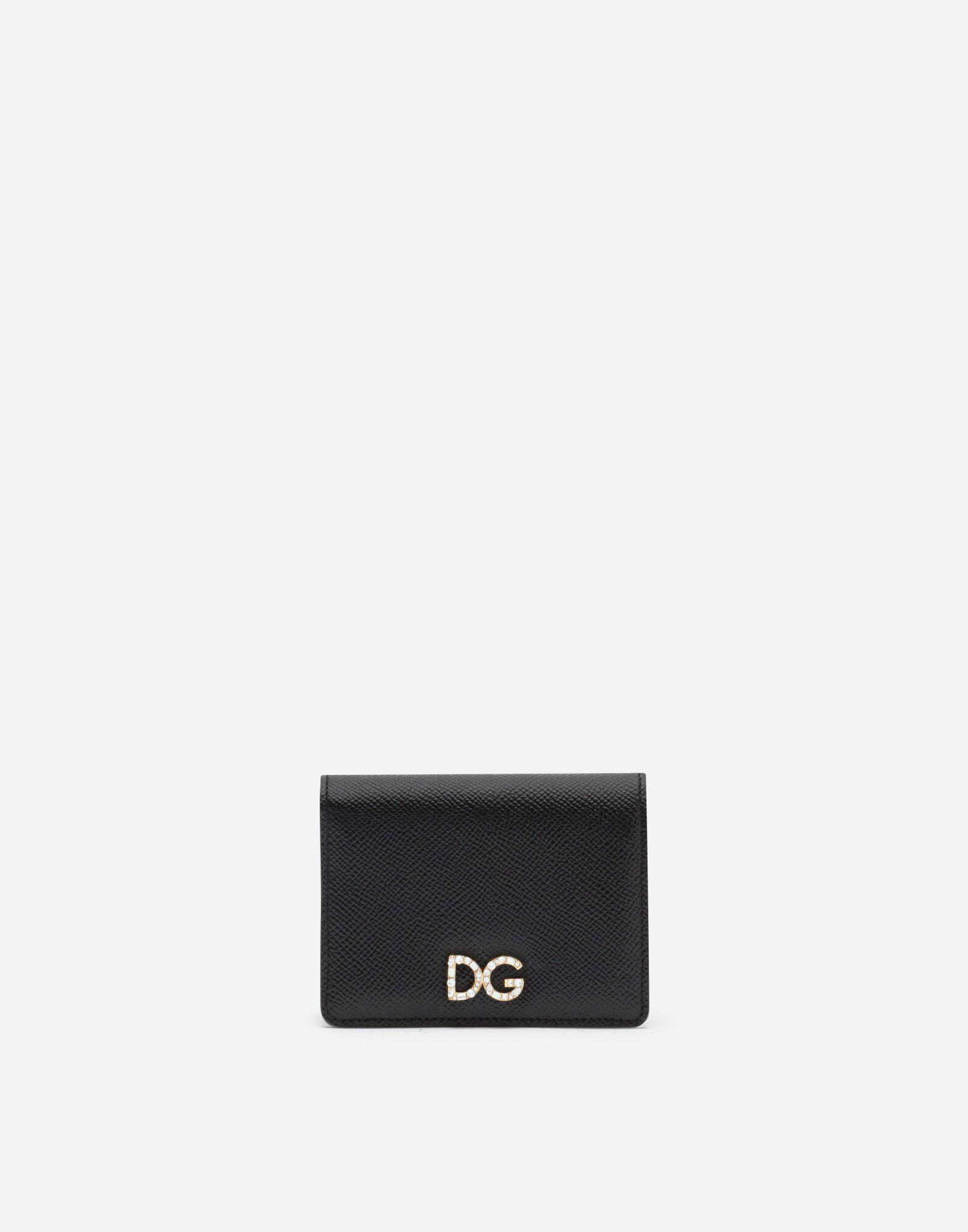 Small continental wallet in dauphine calfskin with rhinestone DG logo
