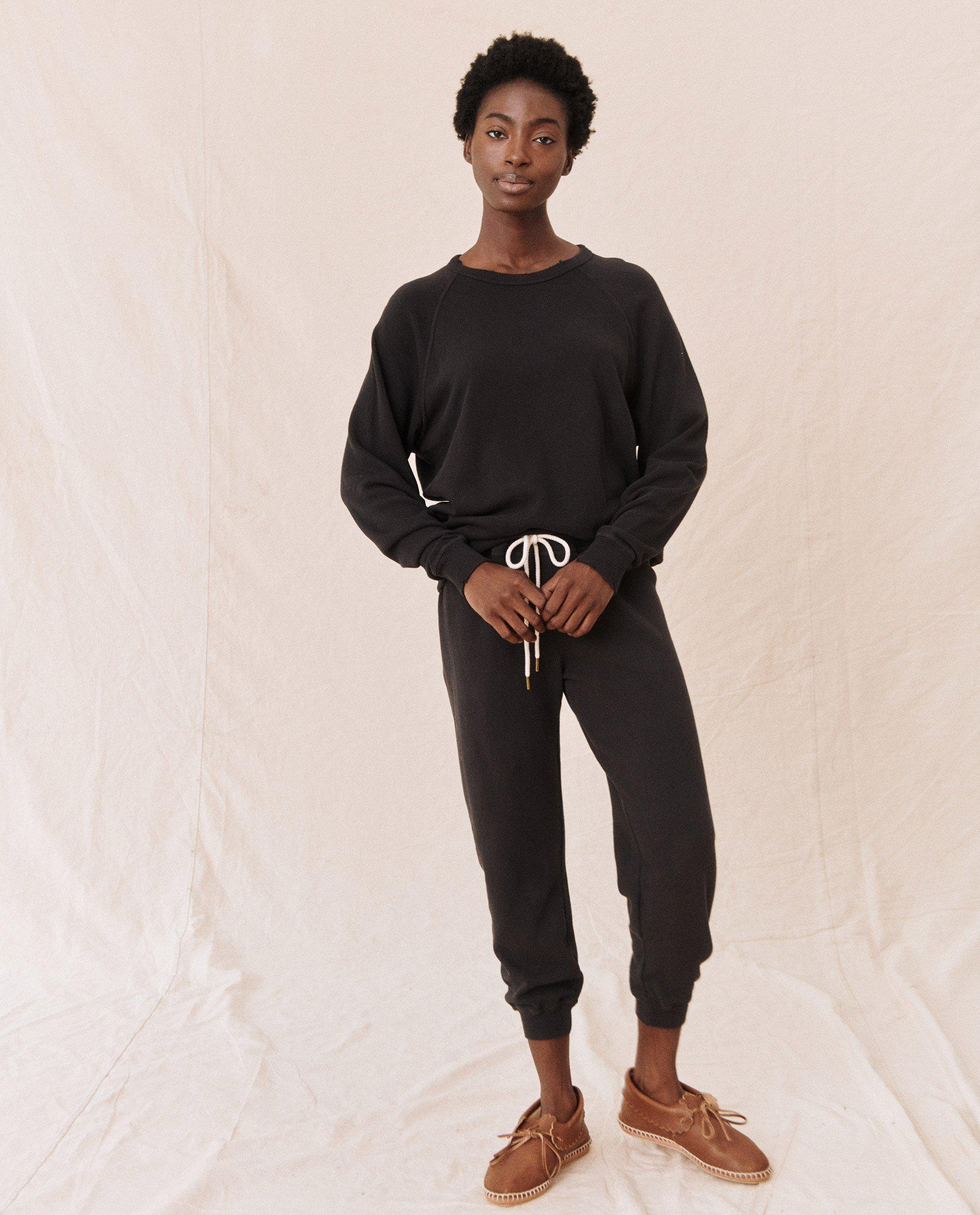 The Cropped Sweatpant. Solid -- Almost Black