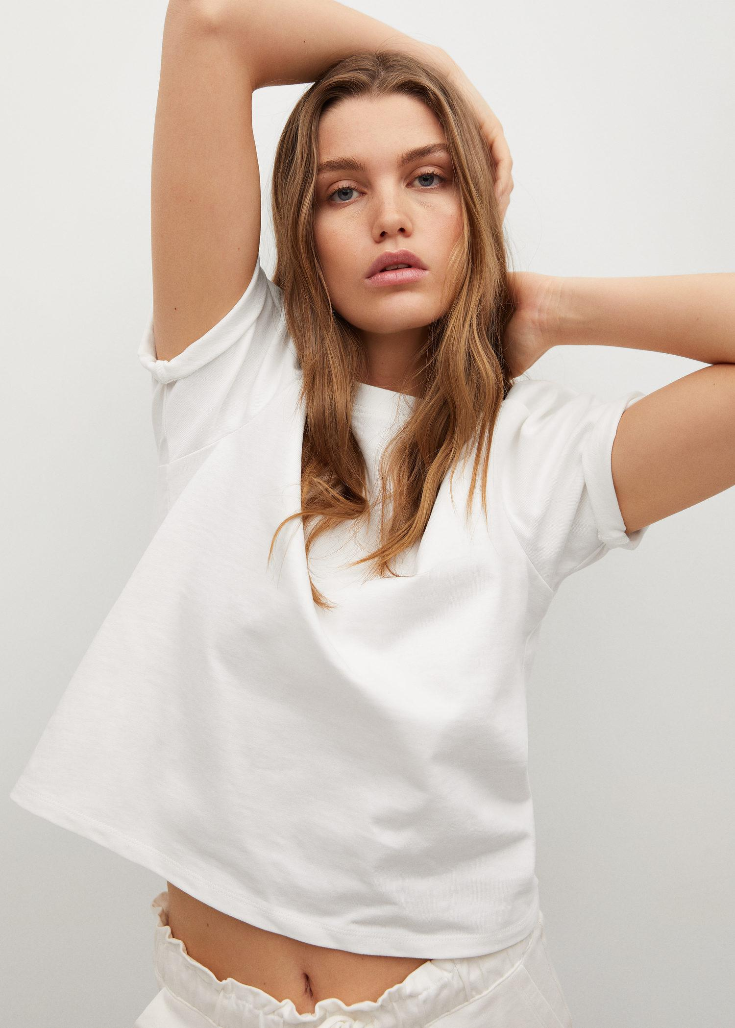 Cotton t-shirt with puffed sleeves 4