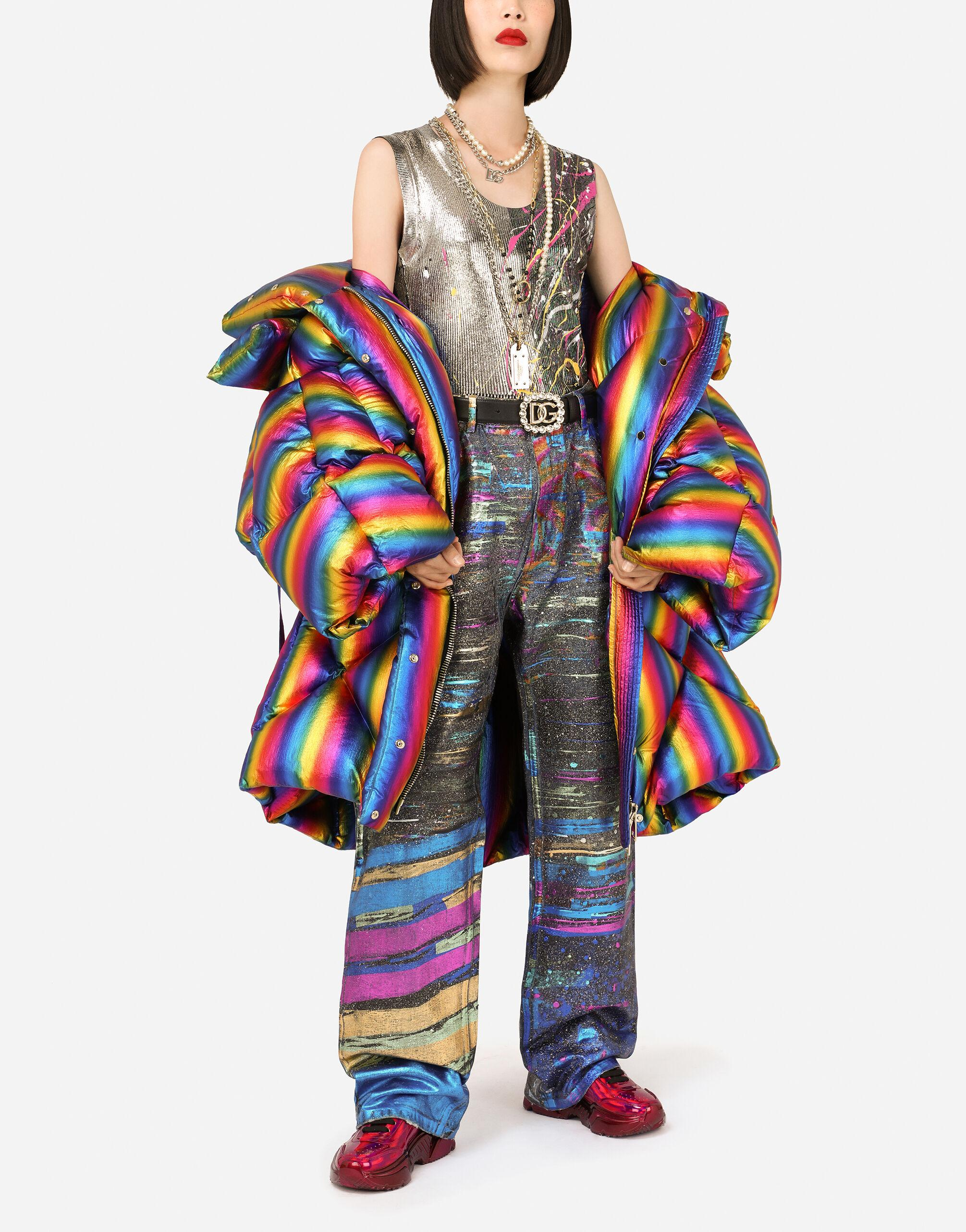Foiled nylon down jacket with multi-colored stripes 4