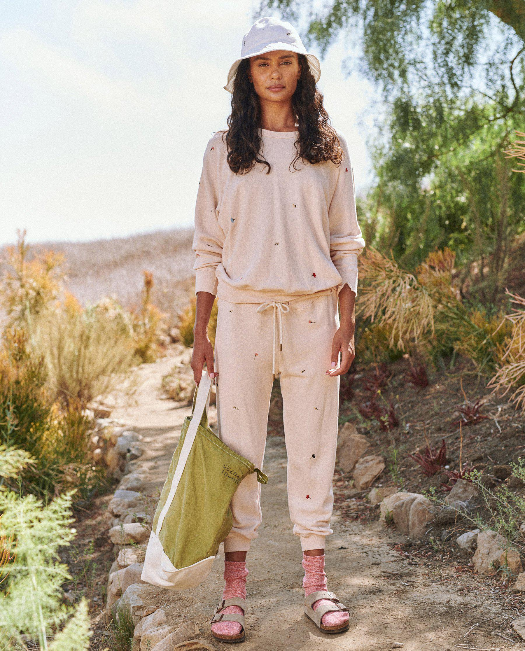 The Cropped Sweatpant. Embroidered -- Whisper Pink with Tossed Floral Embroidery