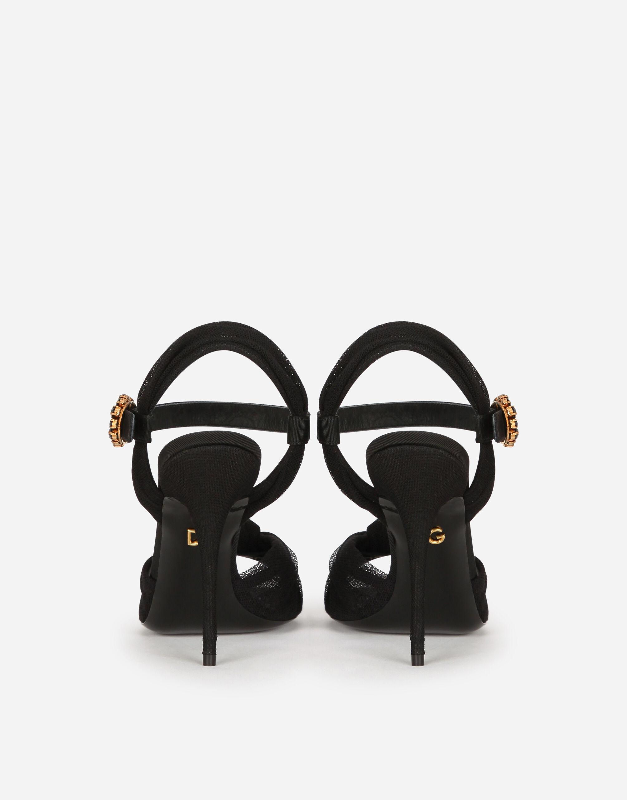 Tulle and gros-grain sandals with bejeweled buckle 2