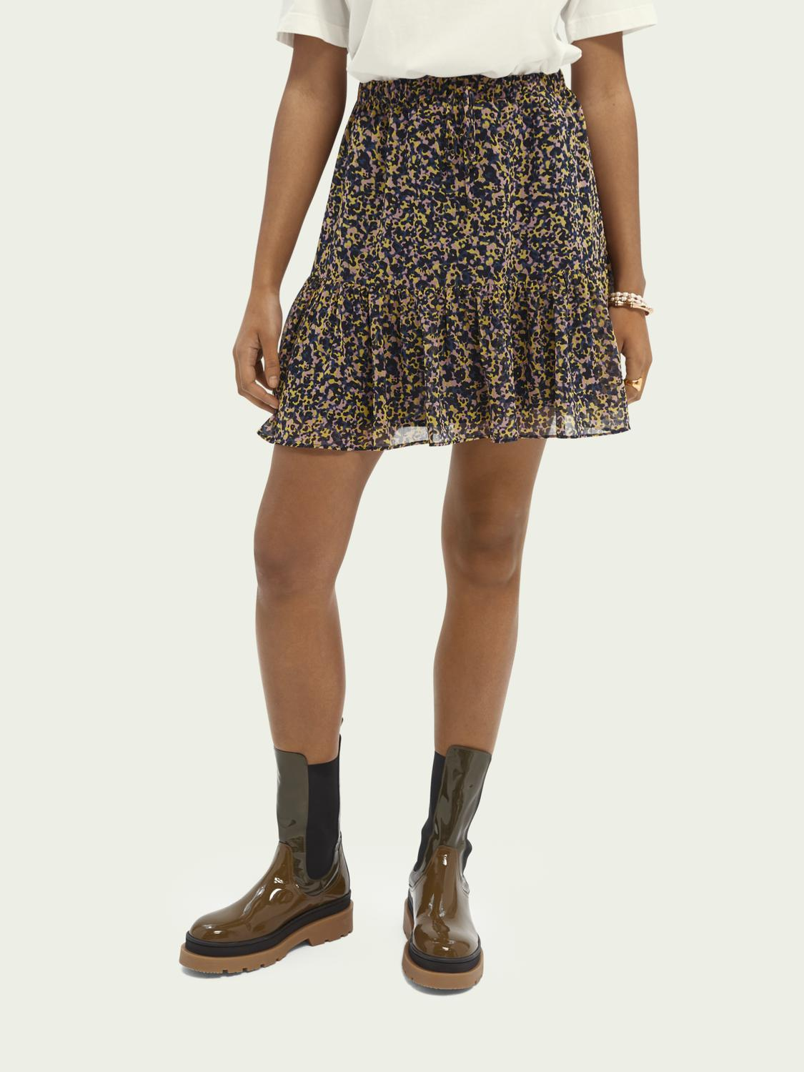 Printed recycled polyester-blend skirt