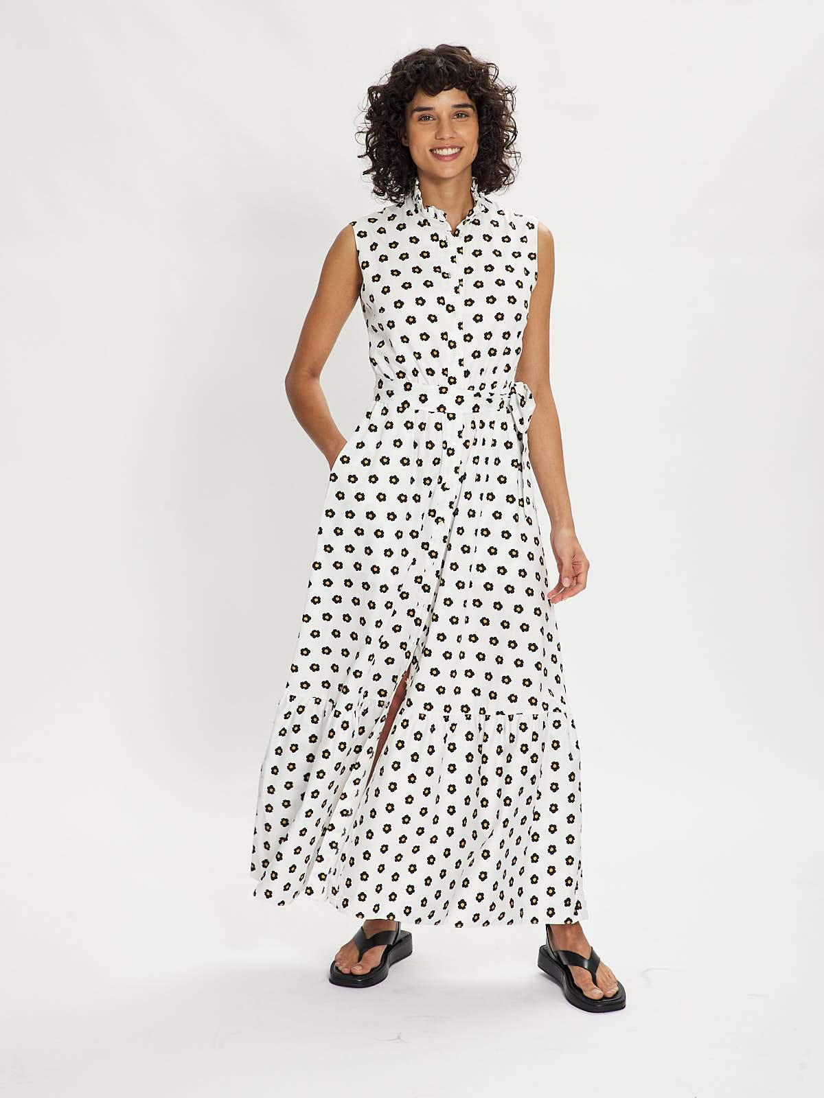 LUPE BLACK AND BEIGE FLORAL MAXI DRESS