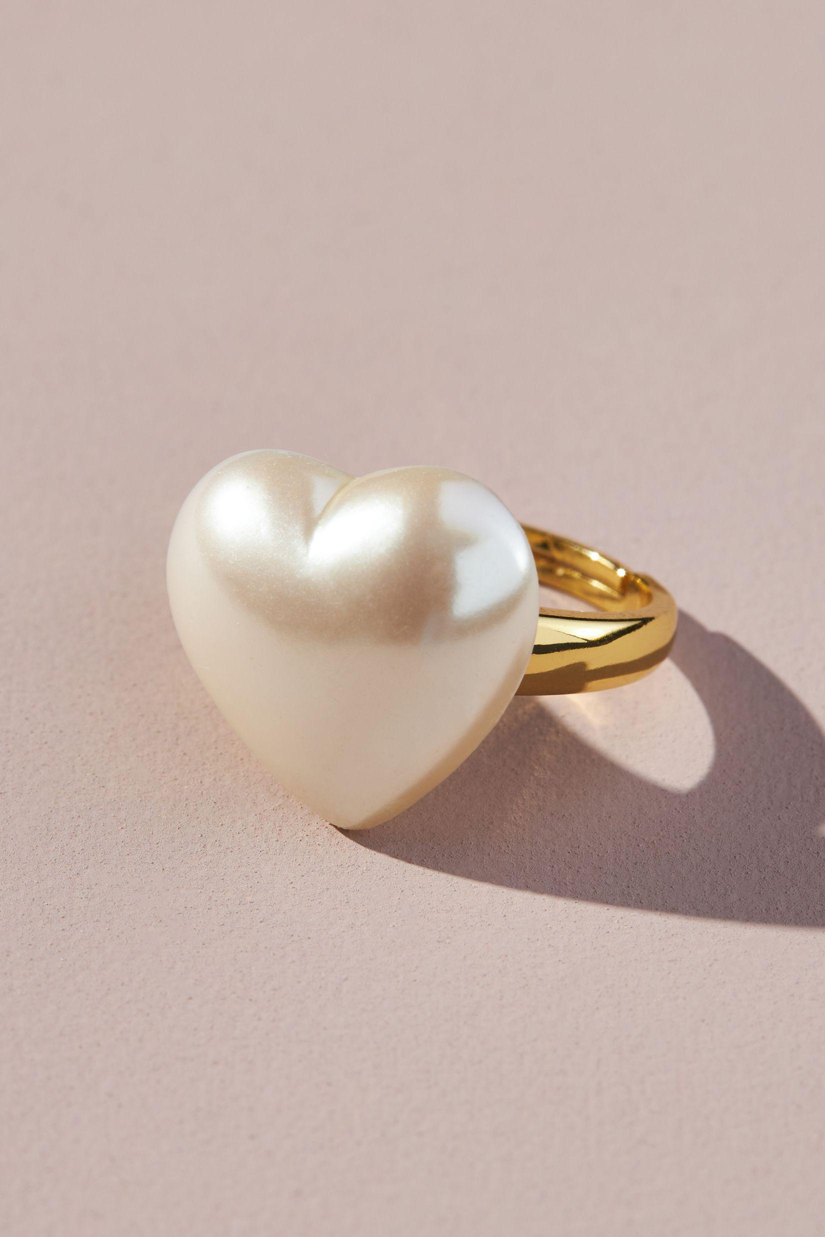 Mother-Of-Pearl Heart Cocktail Ring