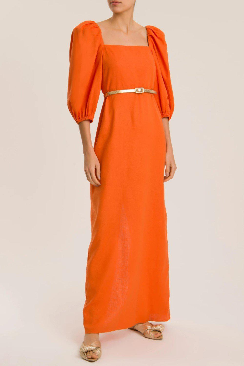 Solid Puff-Sleeved Long Dress