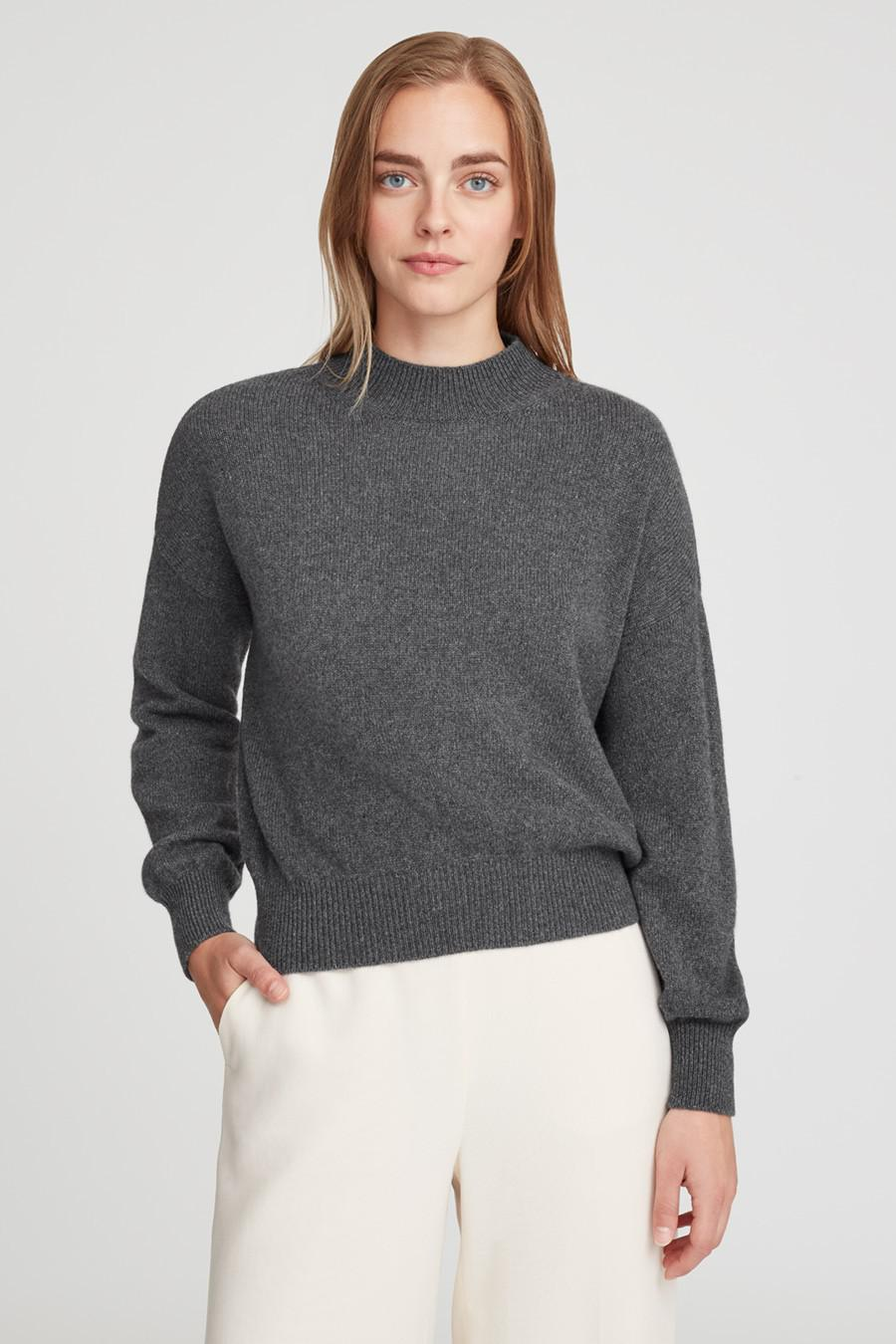Women's Recycled Mock Neck Sweater in Charcoal | Size: 1