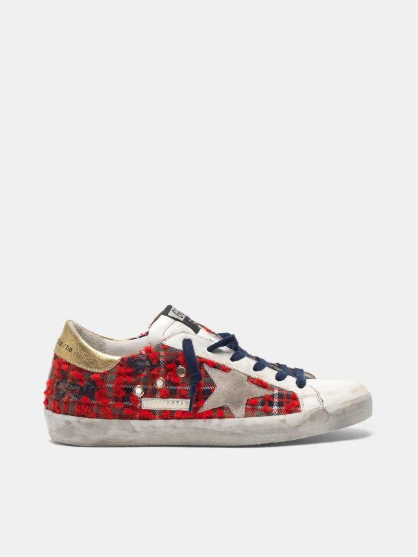 Super-Star sneakers in leather and tartan with gold-coloured heel tab