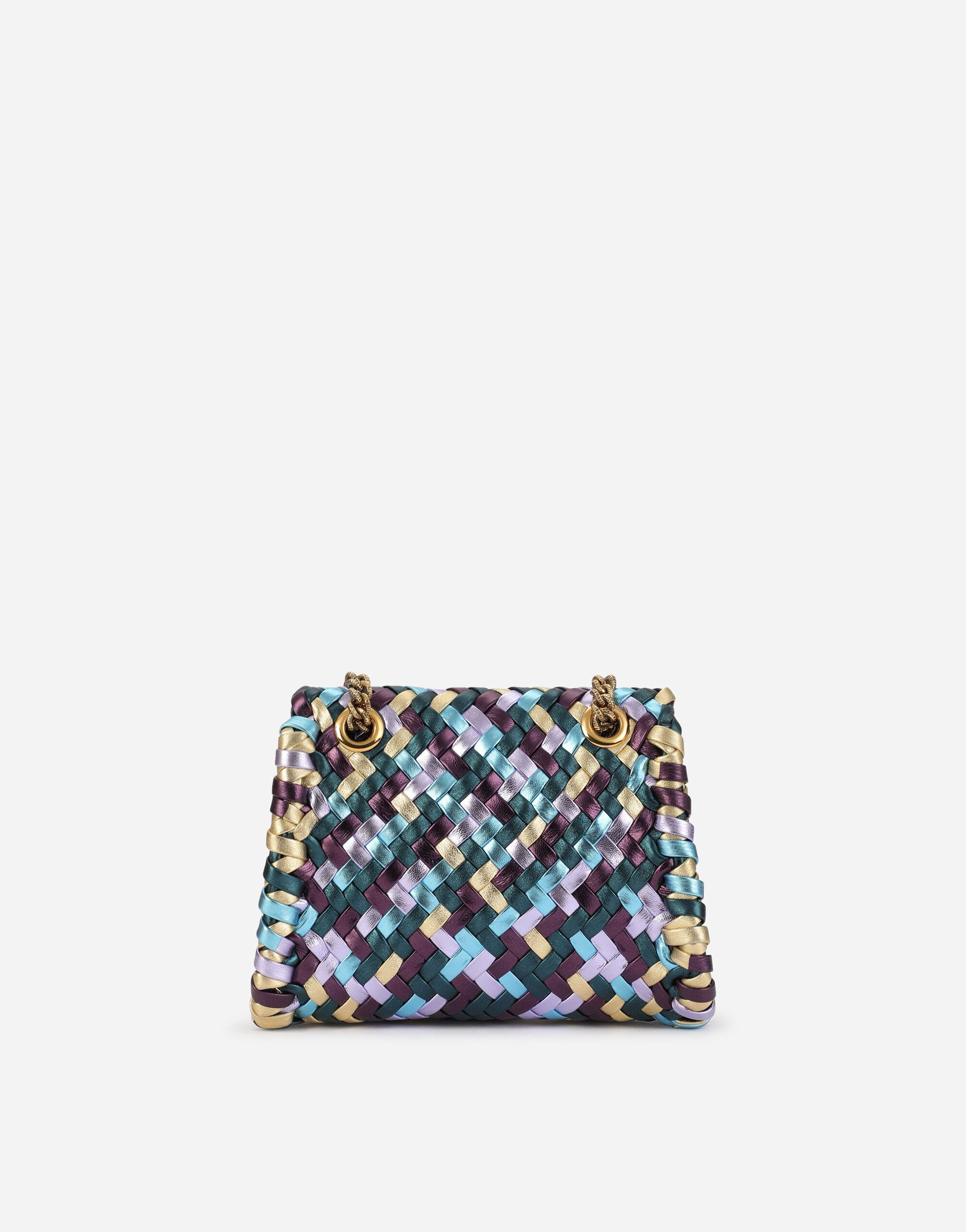 Small Devotion shoulder bag in woven laminated nappa leather 2