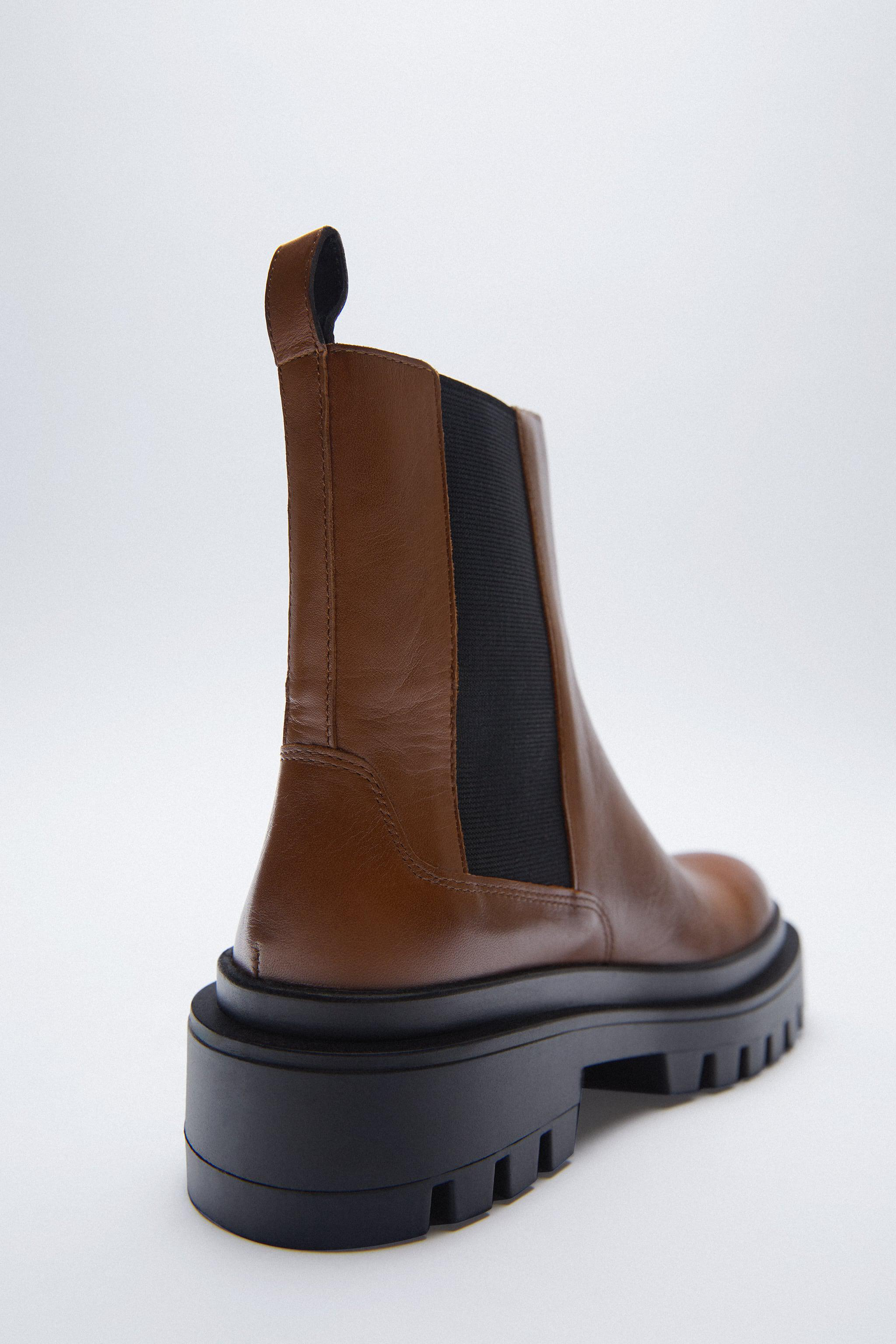 LOW HEELED LUG SOLE LEATHER ANKLE BOOTS 4