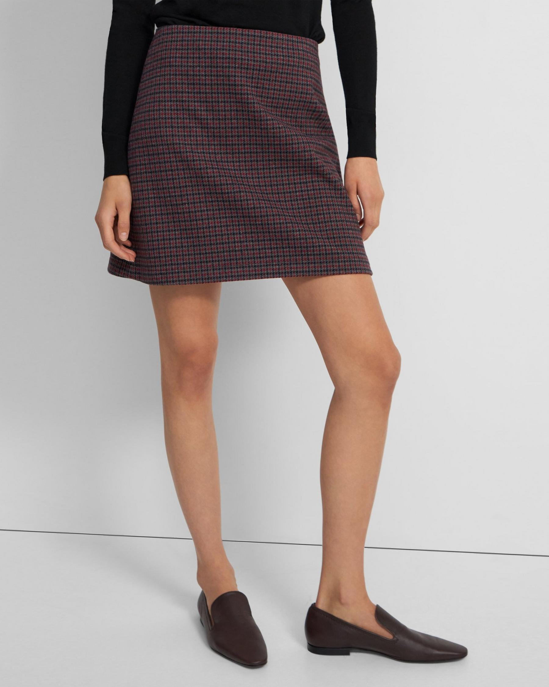 High-Waisted Mini Skirt in Grid Houndstooth