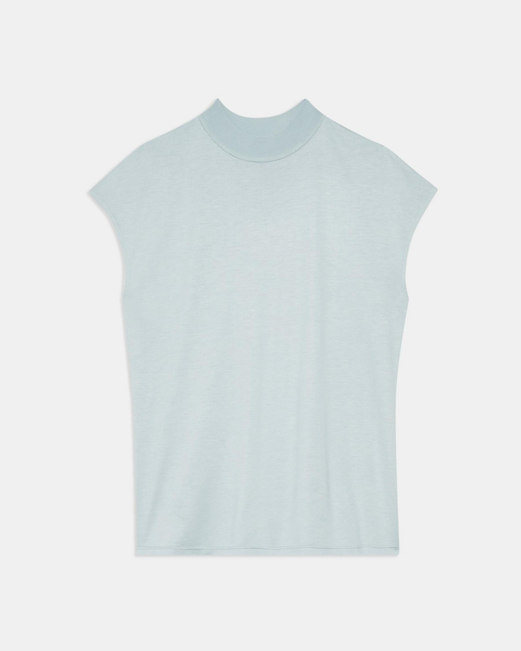 Ribbed Neck Top in Silk Jersey 5