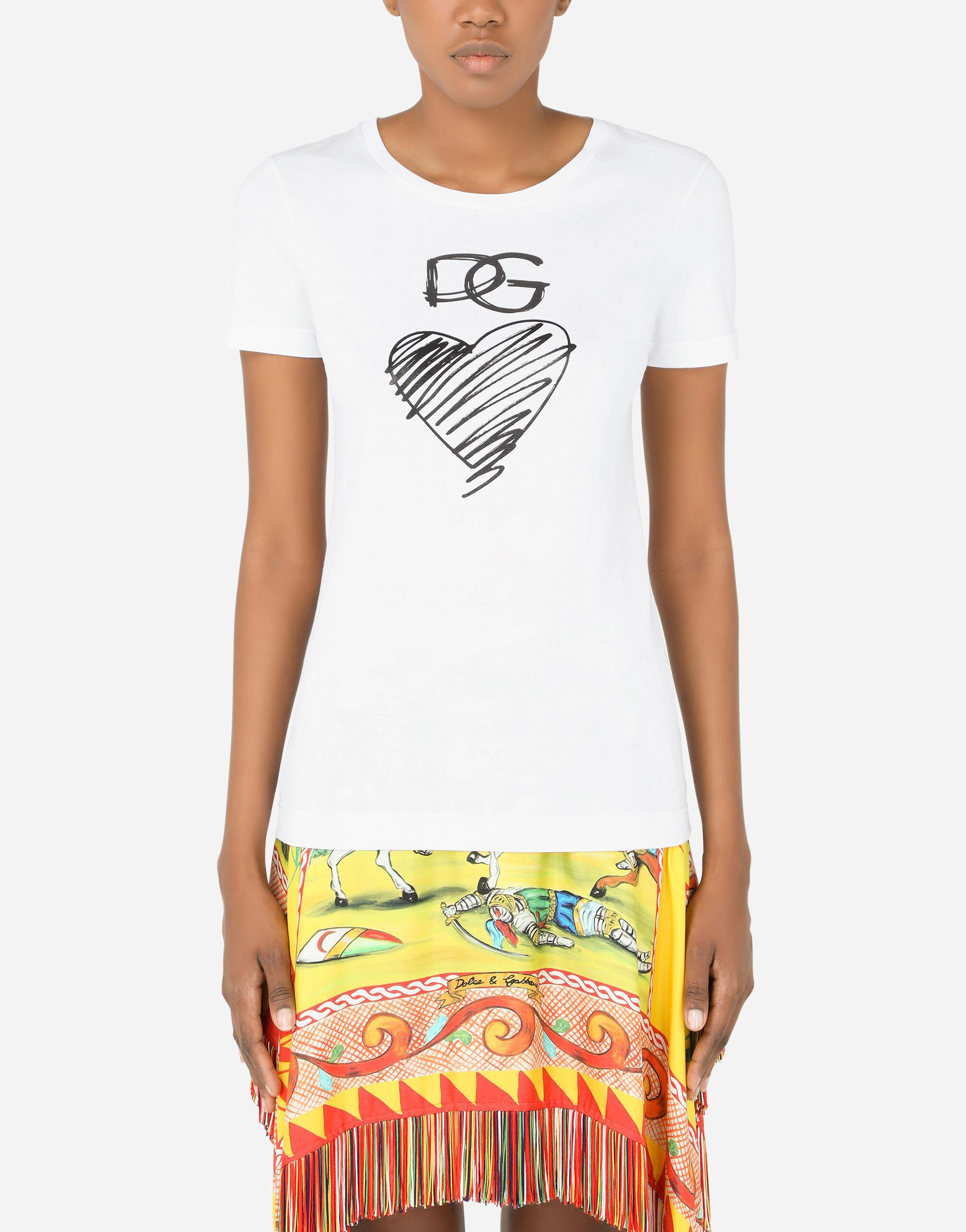 Jersey T-shirt with DG and heart print