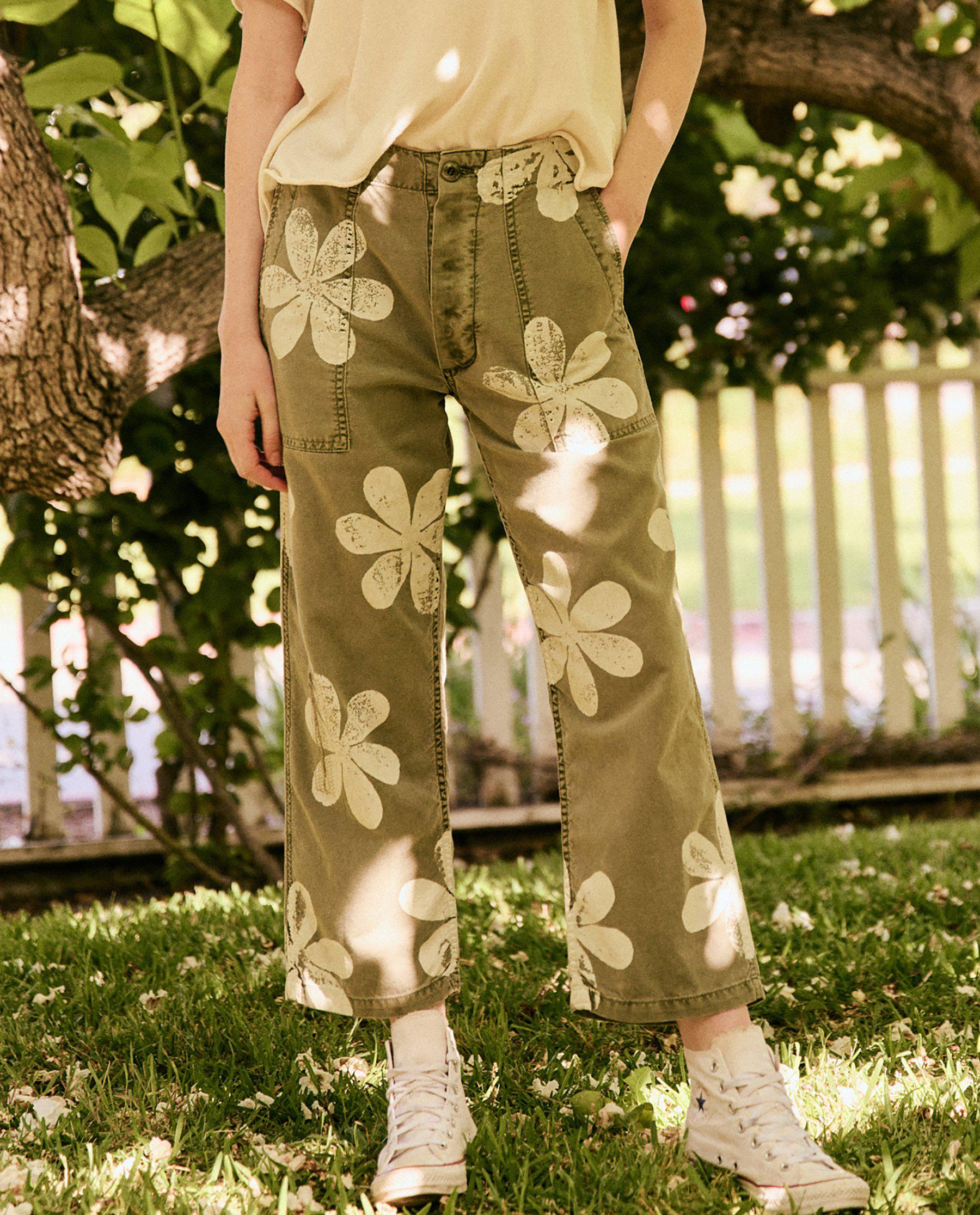 The Vintage Army Pant. -- Army with Daisy Stamp