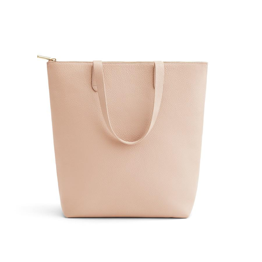 Women's Tall Structured Leather Zipper Tote Bag in Blush Pink | Pebbled Leather by Cuyana