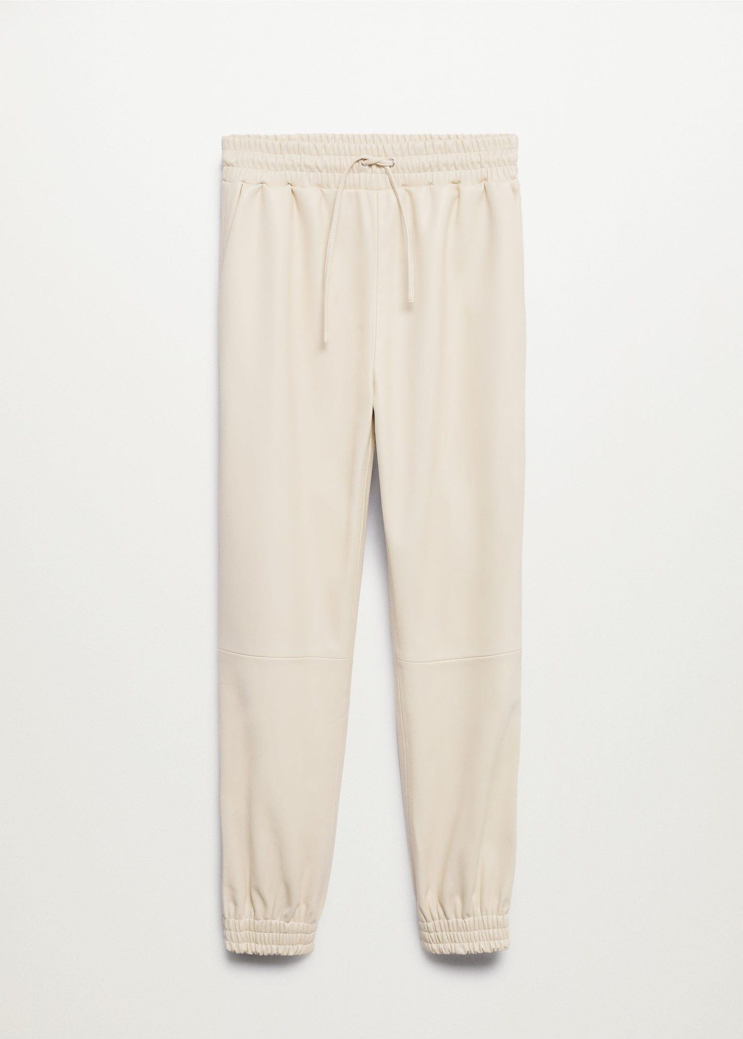 Leather-effect elastic waist trousers 7