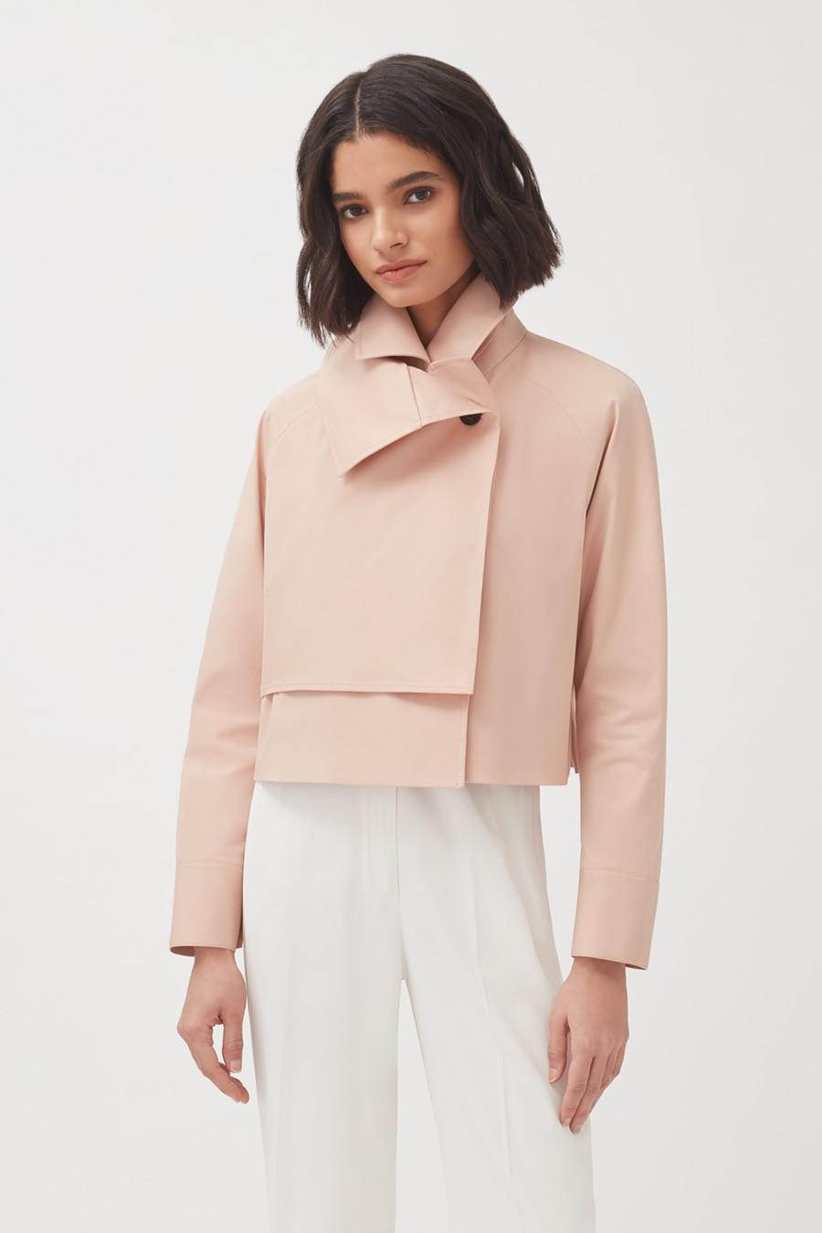 Women's Cropped Trench in Soft Rose | Size: S/M | Cotton Elastane Blend by Cuyana 2