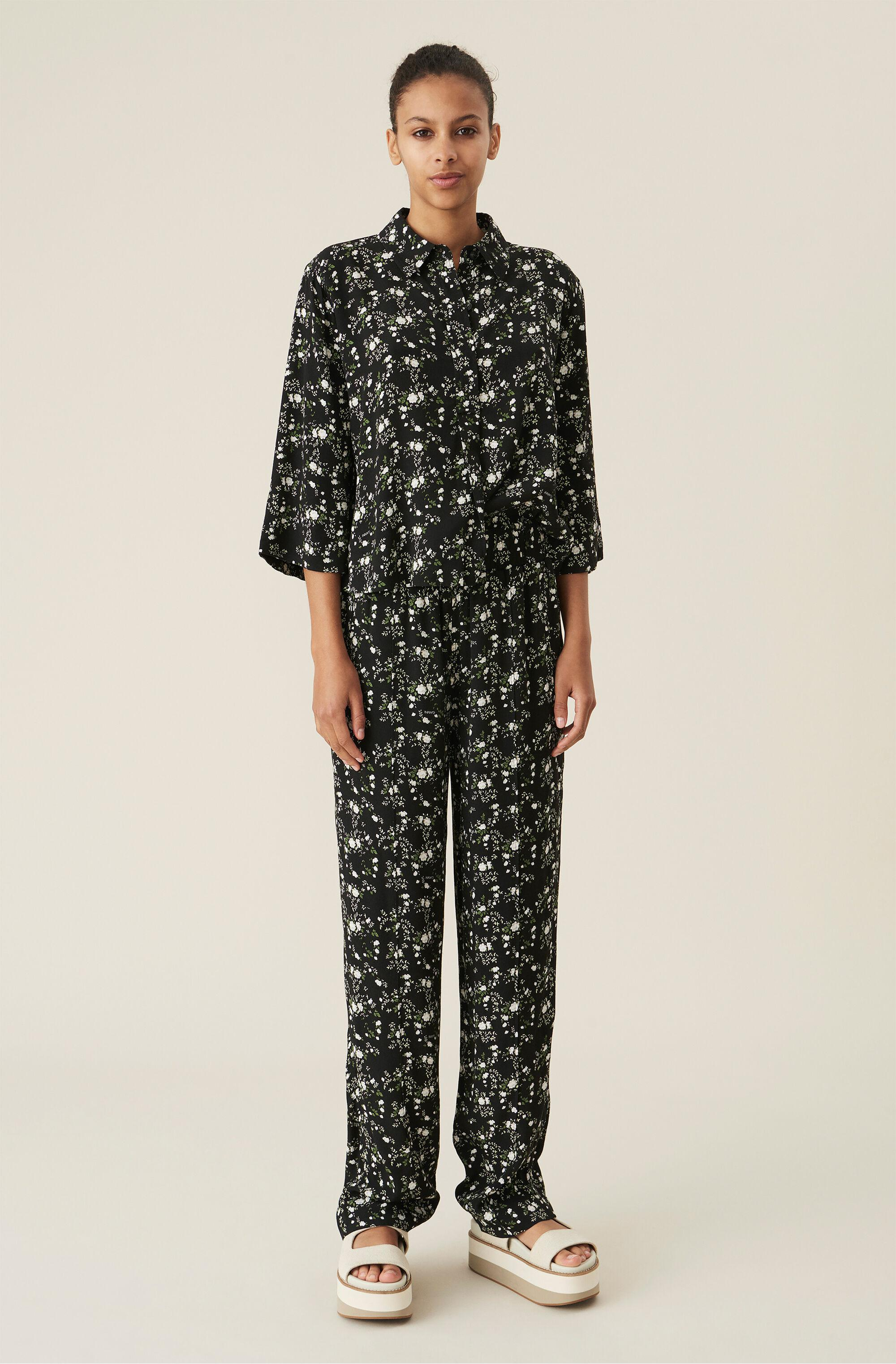 Black Floral Crepe Straight Trousers