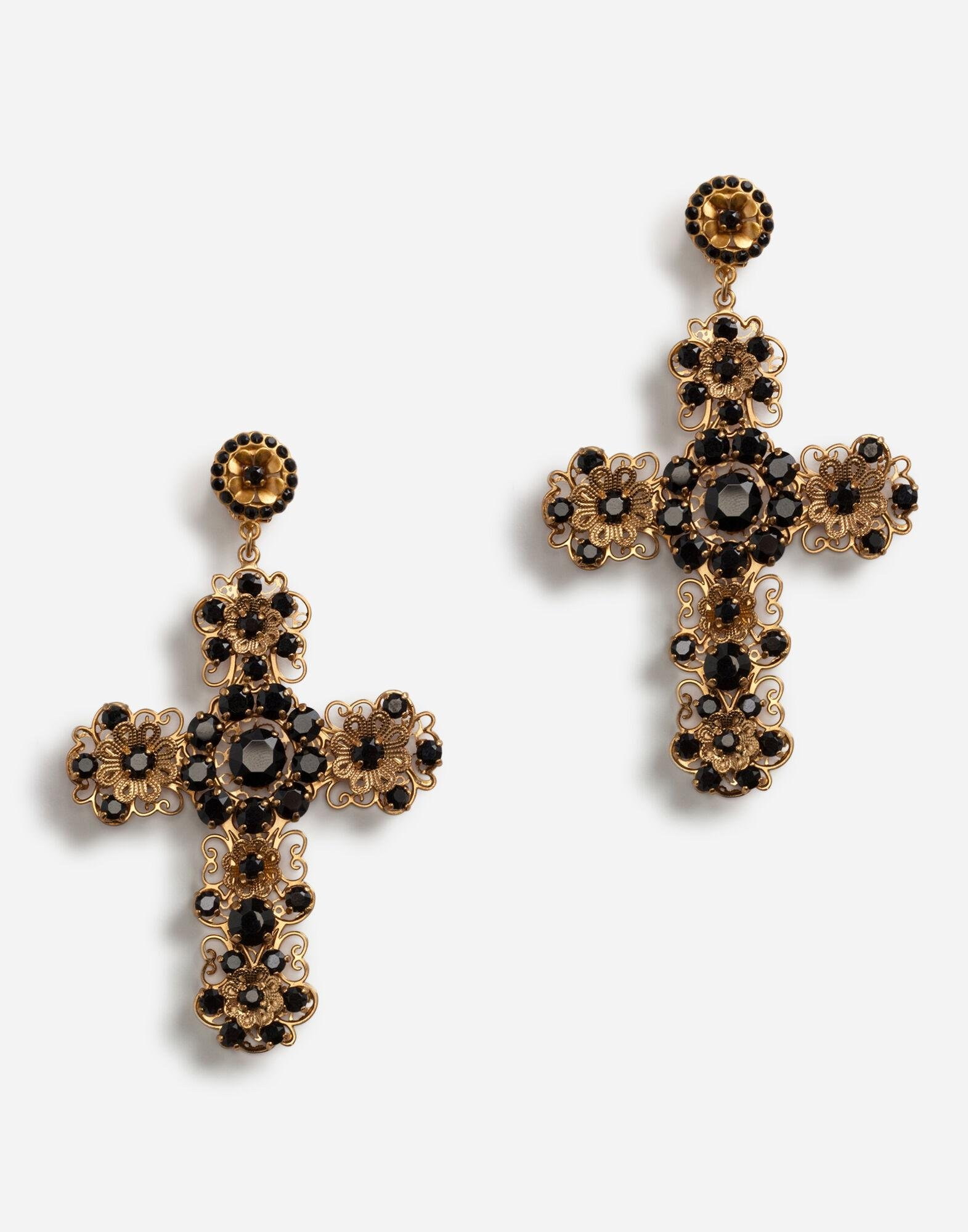 Clip-on pendant earrings with cross