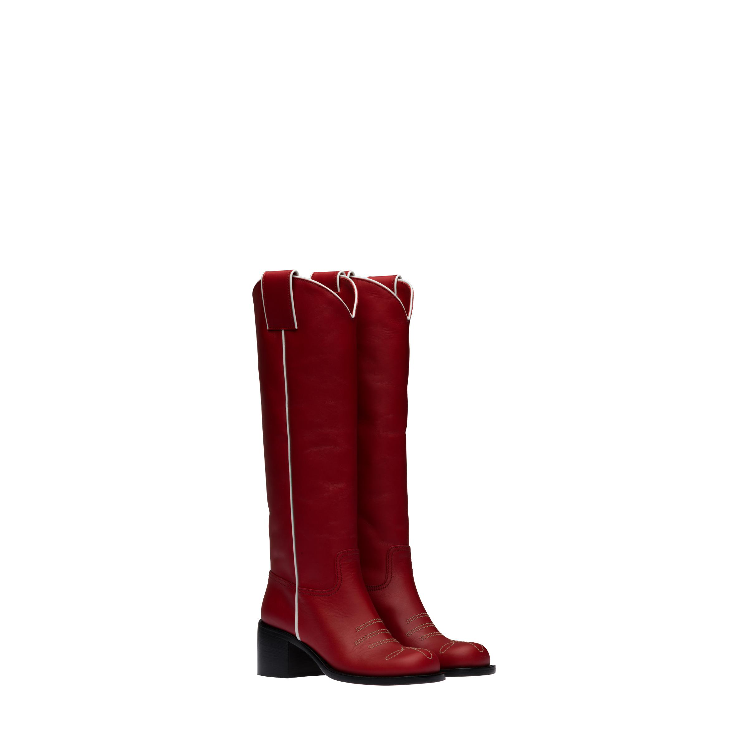 Leather Boots Women Ruby Red/white 0