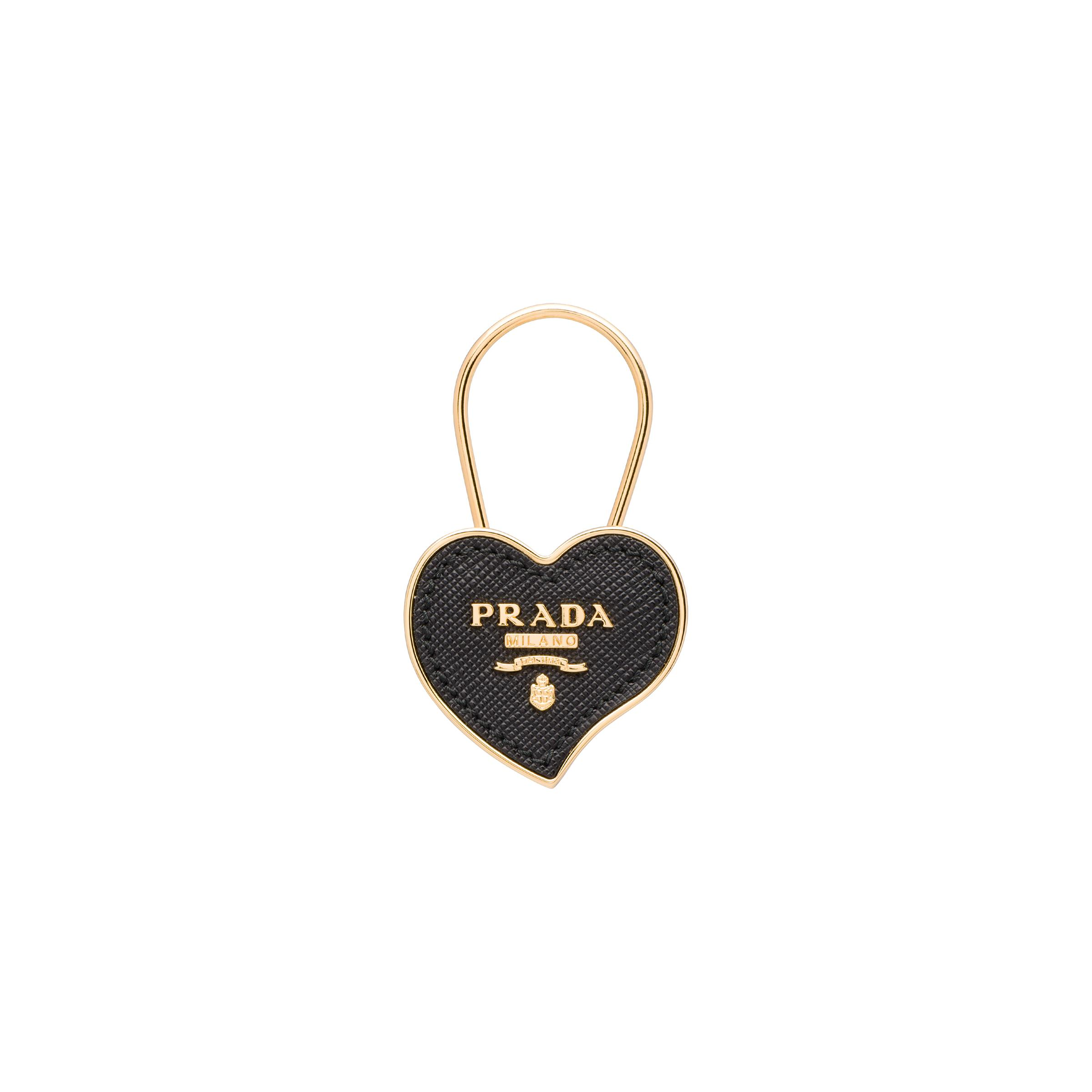 Metal And Saffiano Leather Keychain Women Black