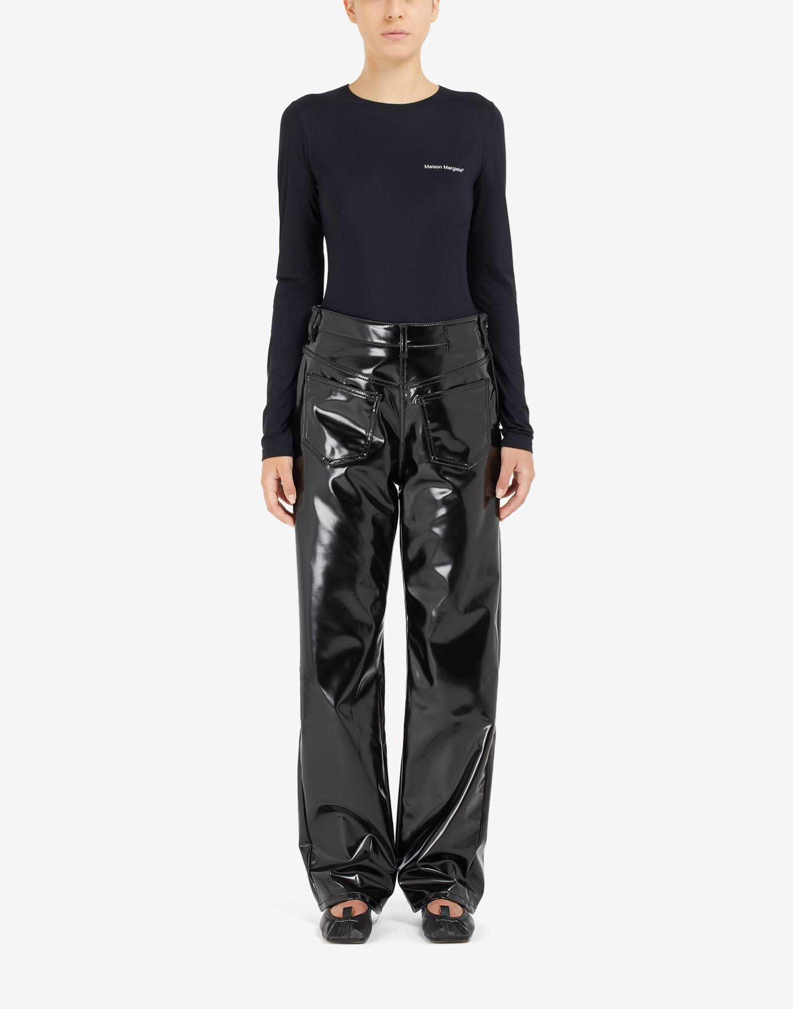 Back-to-back faux leather trousers