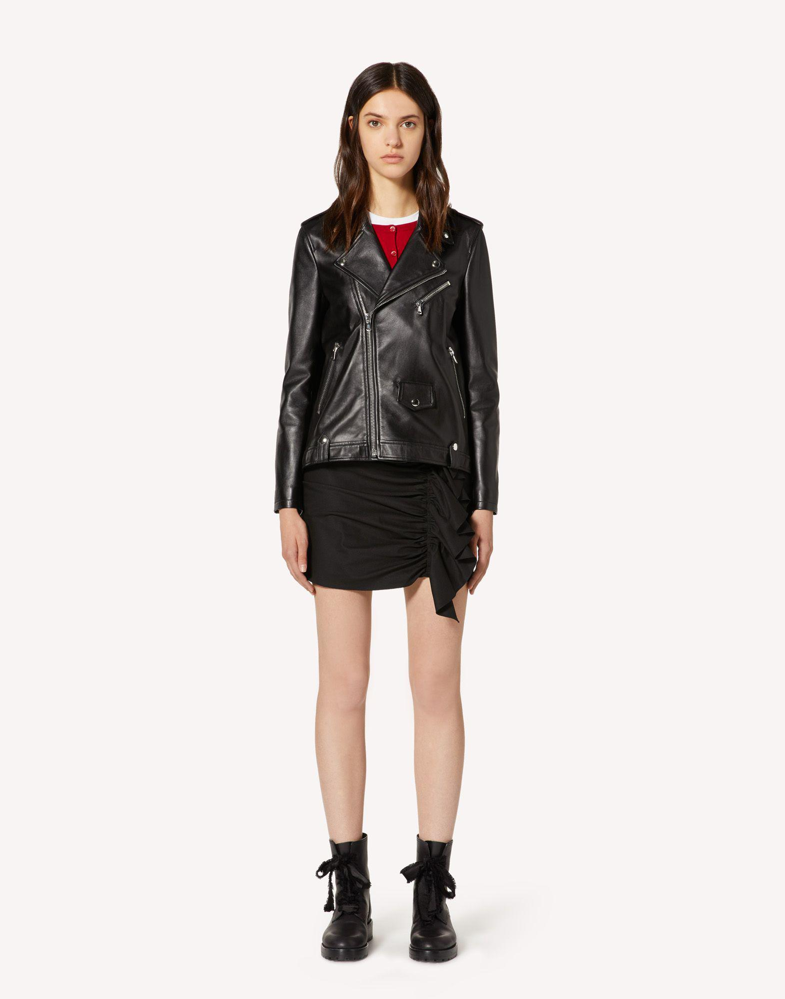 LEATHER BIKER JACKET WITH PLEATED DETAIL