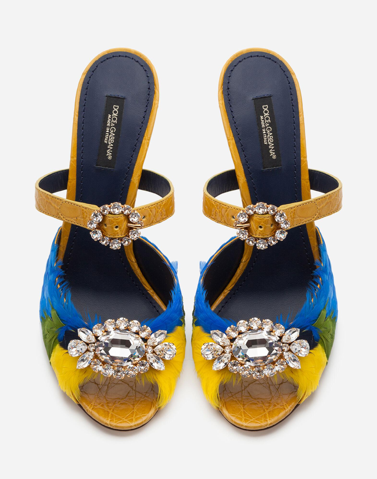 Crocodile flank leather and feather mules with jewel embroidery 3