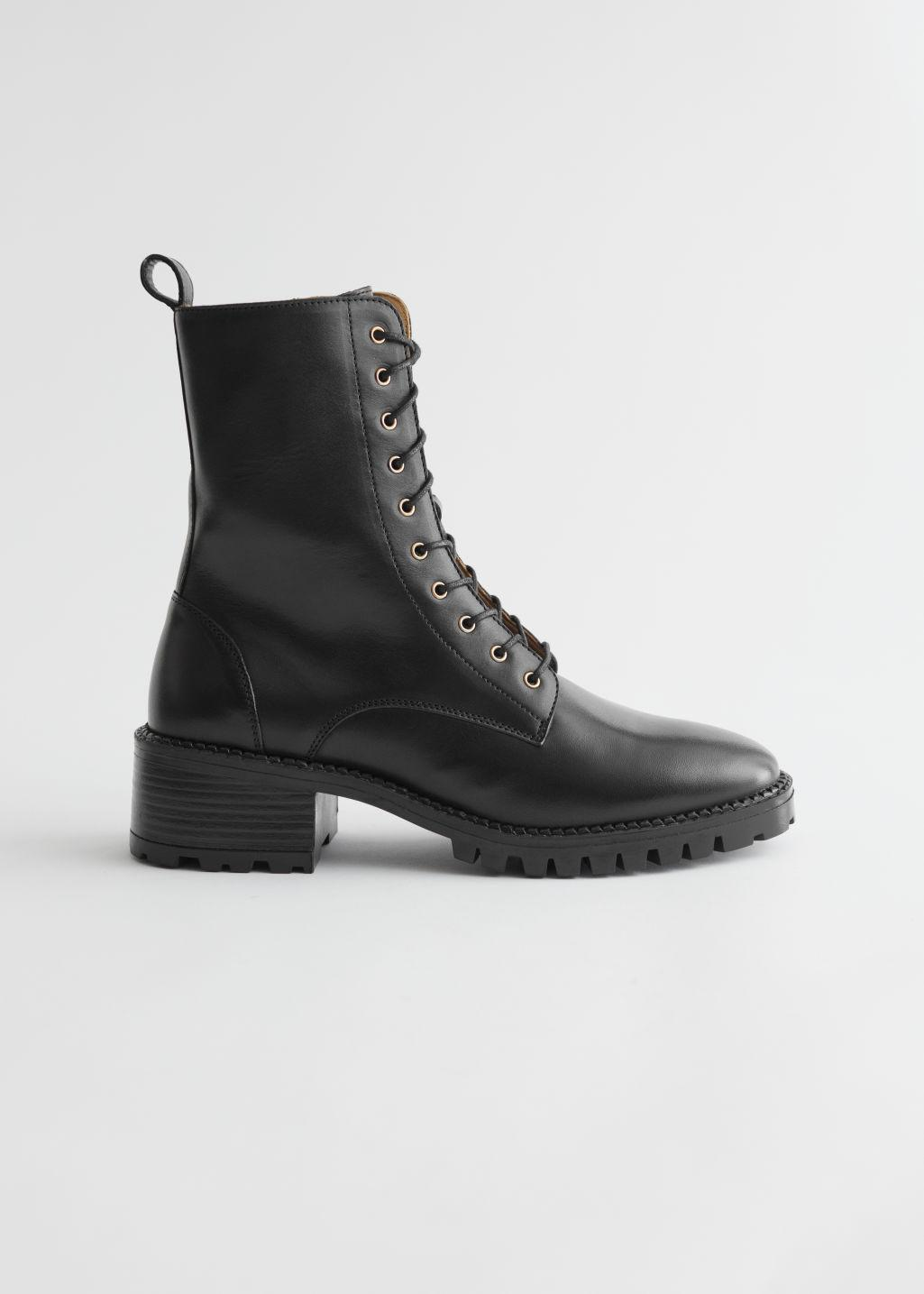 Heeled Leather Utility Boots