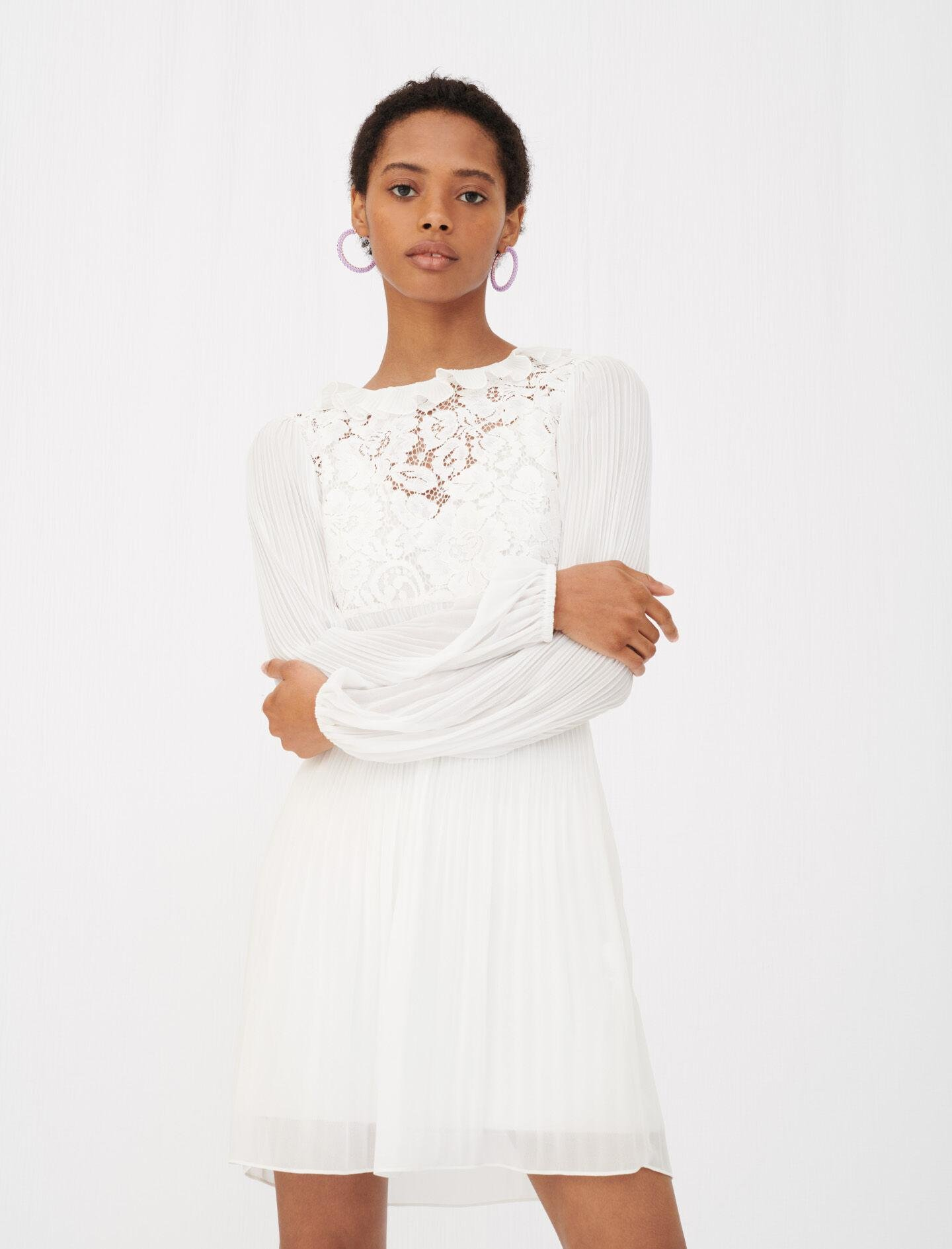 PLEATED MUSLIN AND LACE DRESS