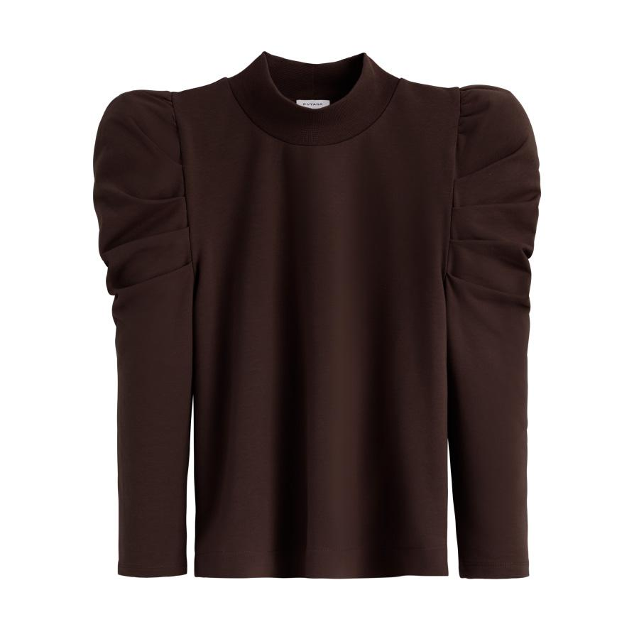 Women's French Terry Puff Sleeve Sweatshirt in Chocolate | Size: