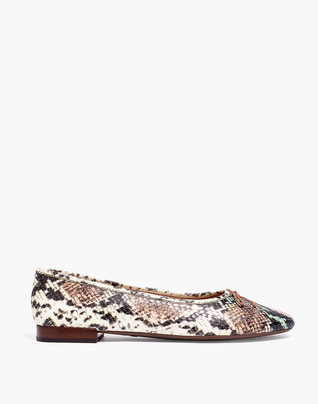The Adelle Ballet Flat in Snake Embossed Leather 1