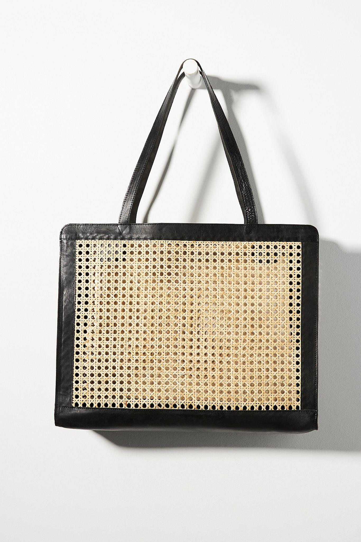 Leather-Trimmed Wicker Tote Bag