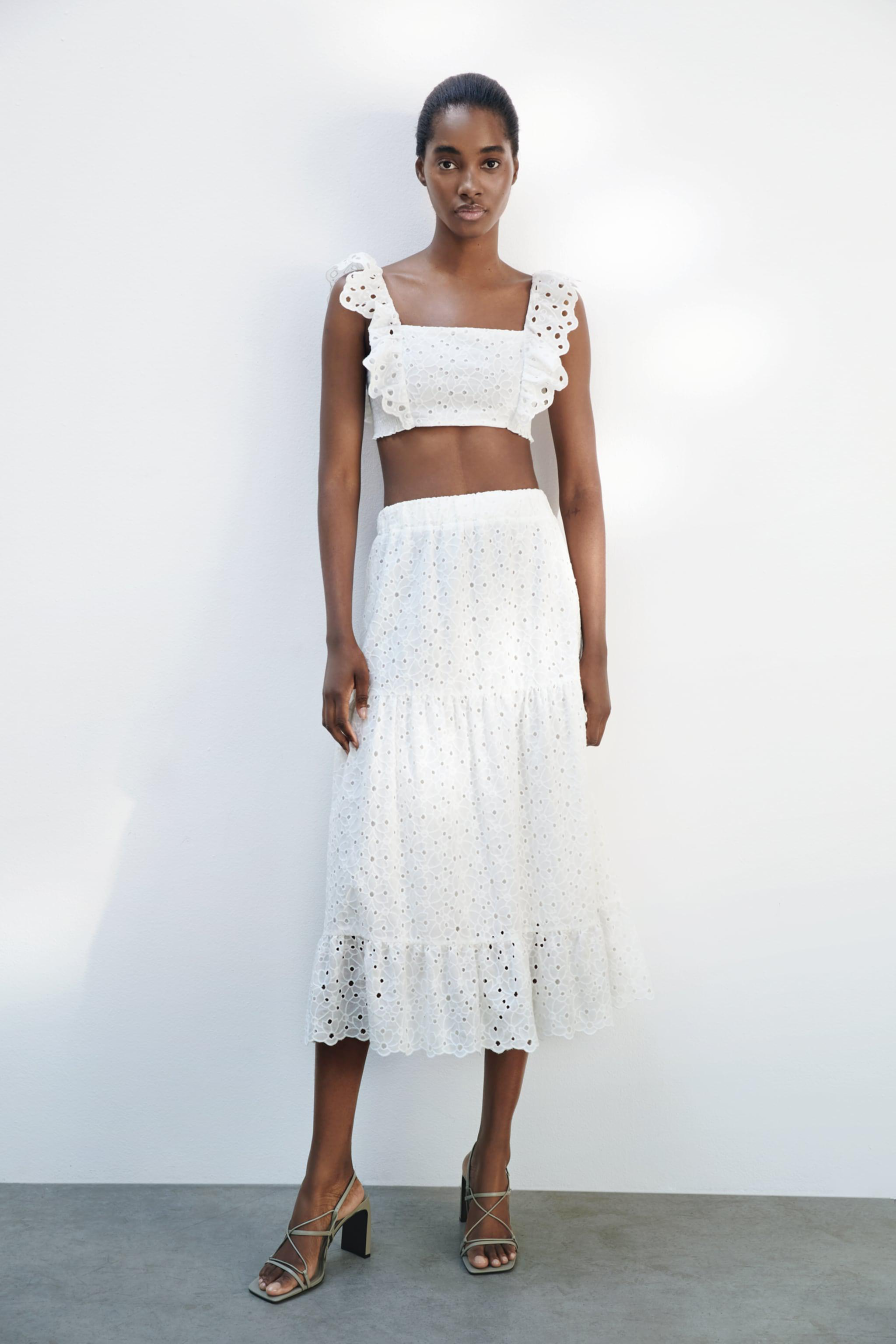 CROPPED TOP WITH OPENWORK EMBROIDERY