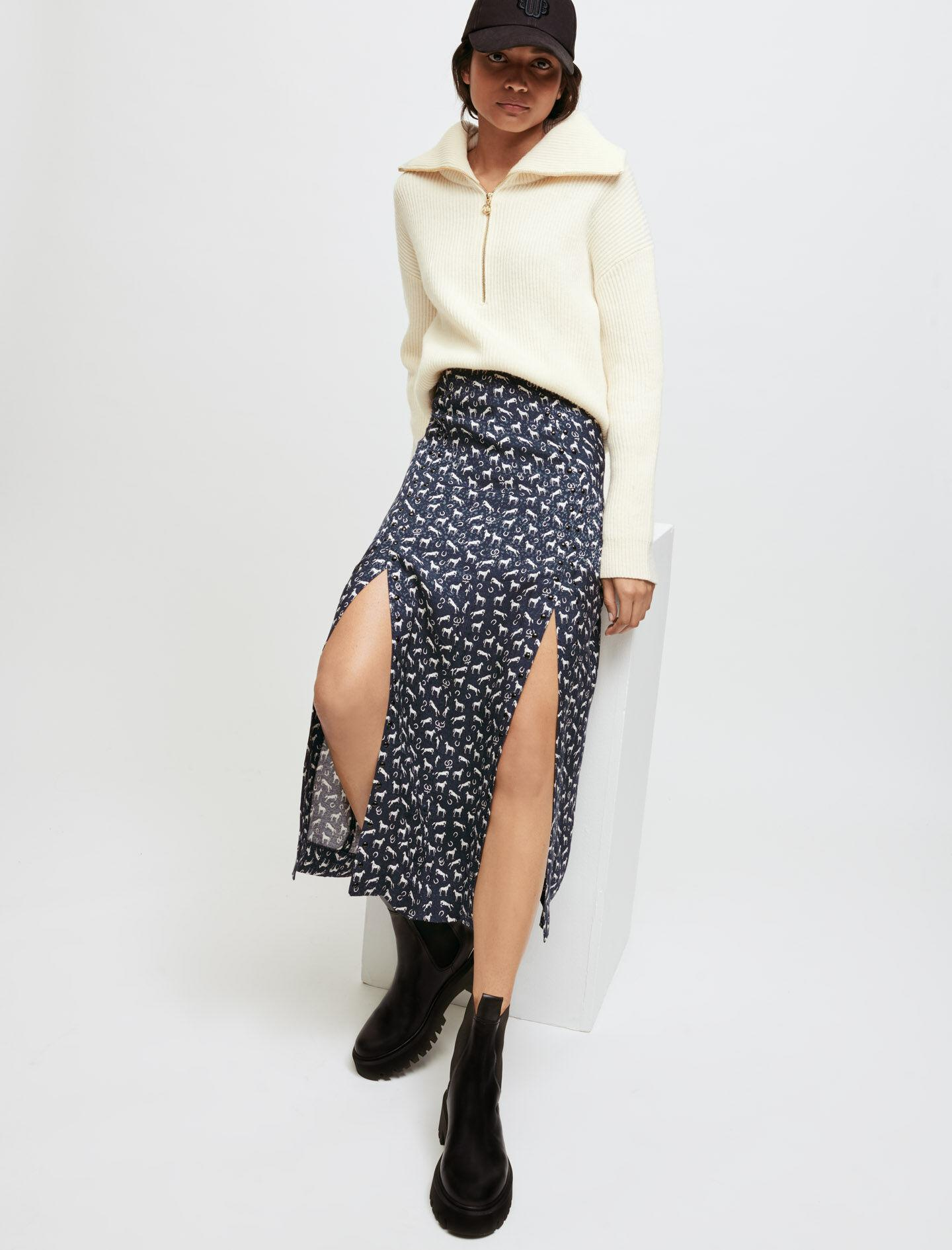 HORSE PRINT JACQUARD SKIRT WITH STUDS 2