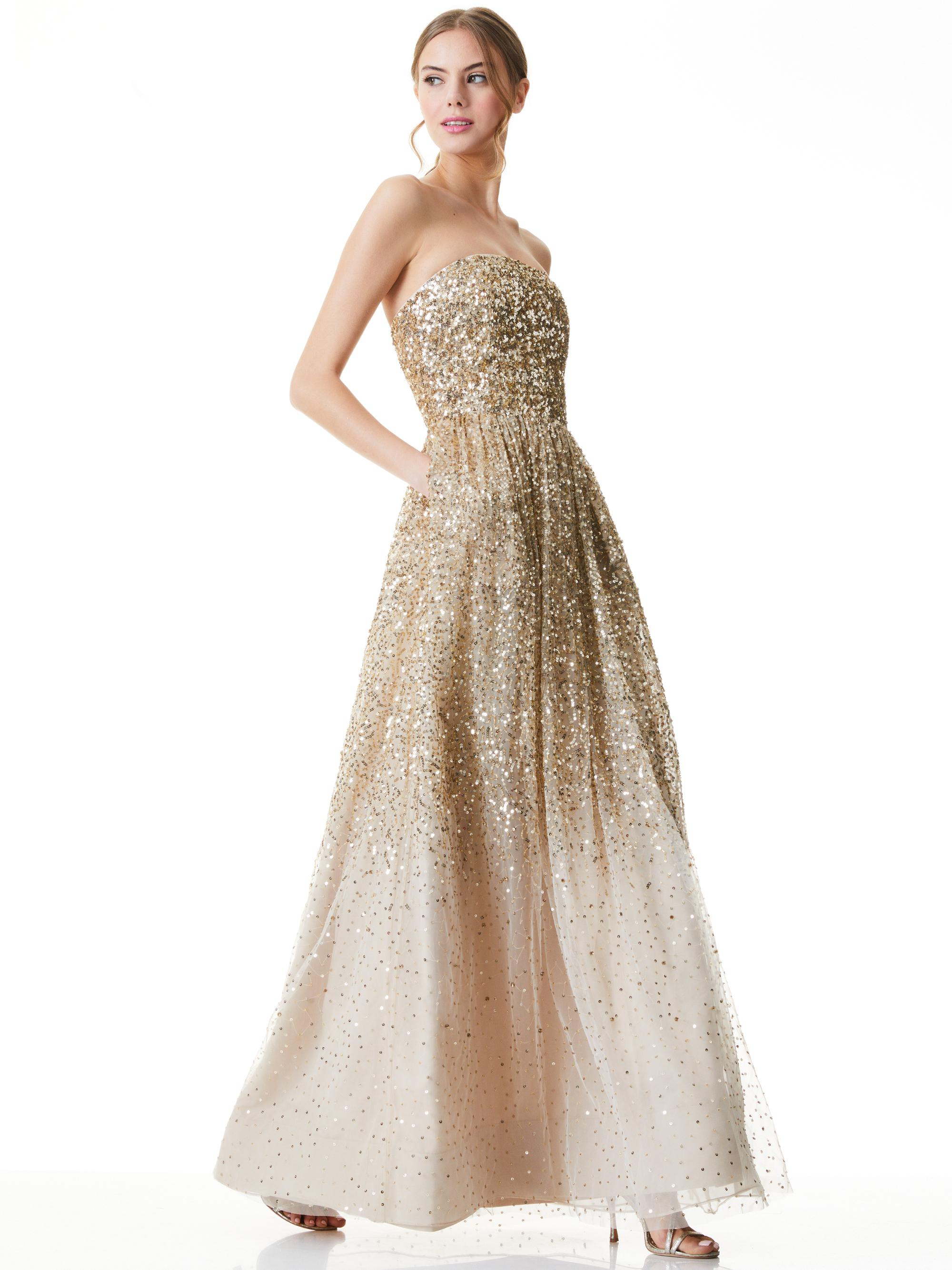 DAISY SEQUIN STRAPLESS GOWN