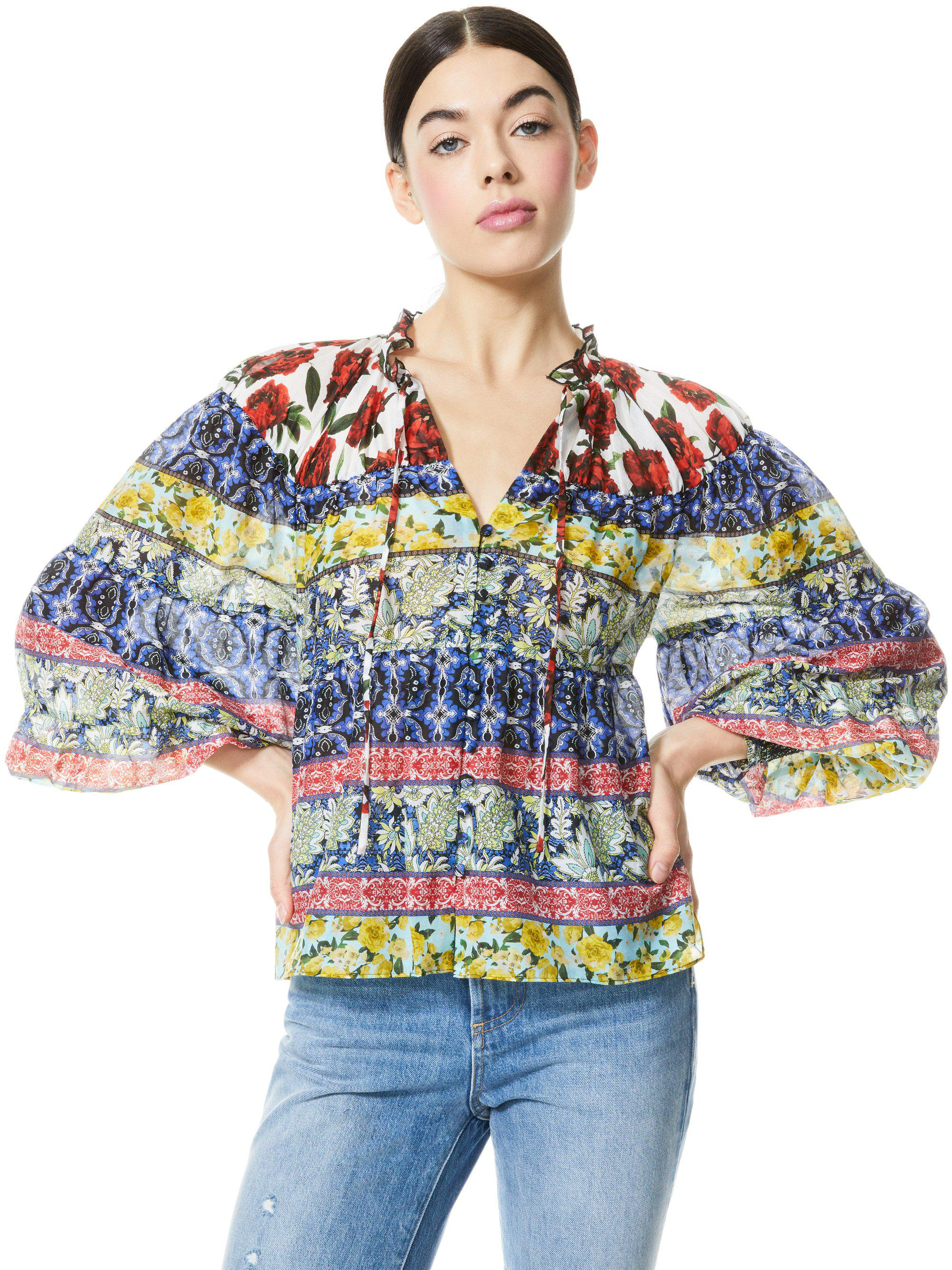 MARLYN TIE NECK BLOUSE