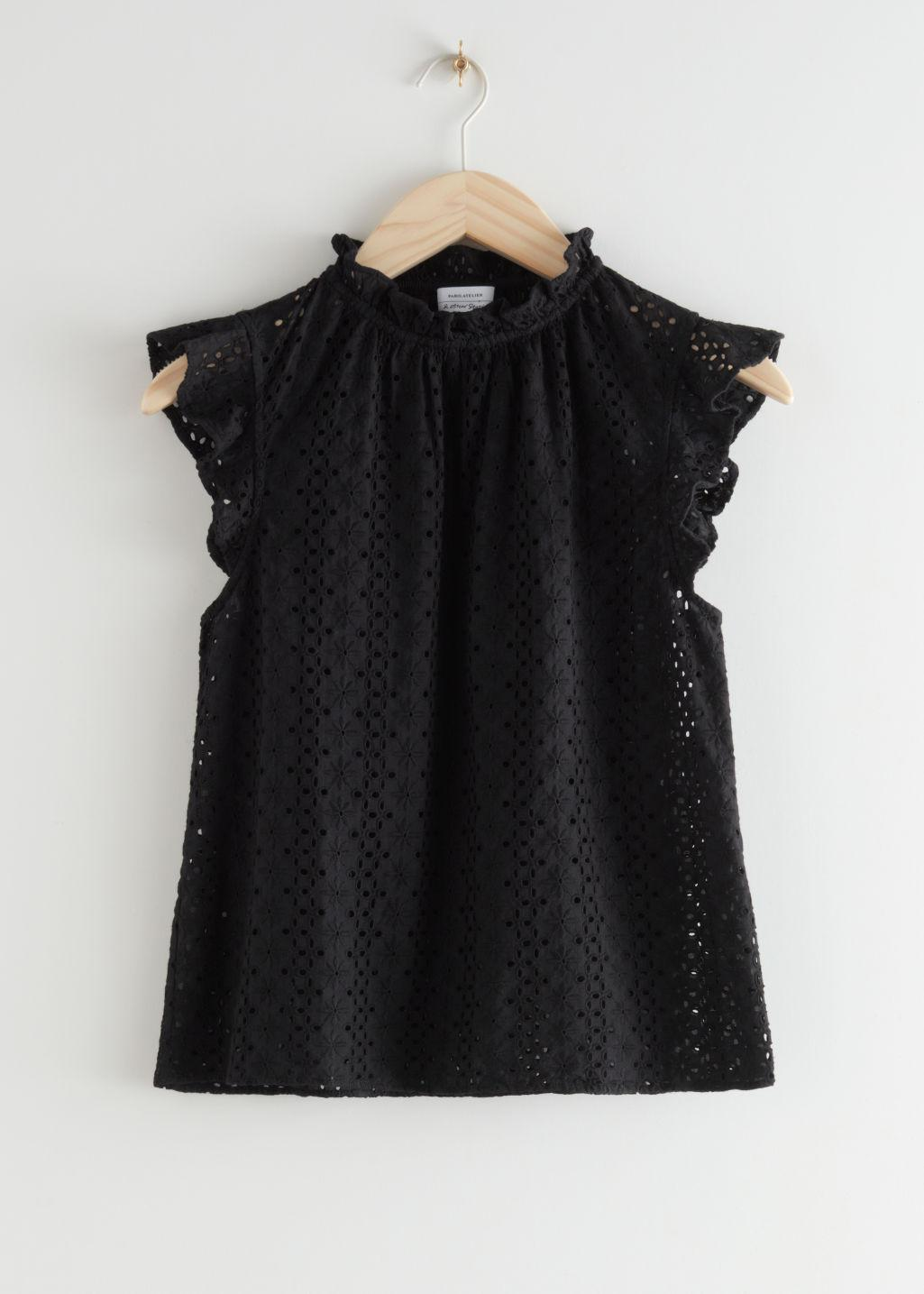 Frilled Broderie Anglaise Blouse