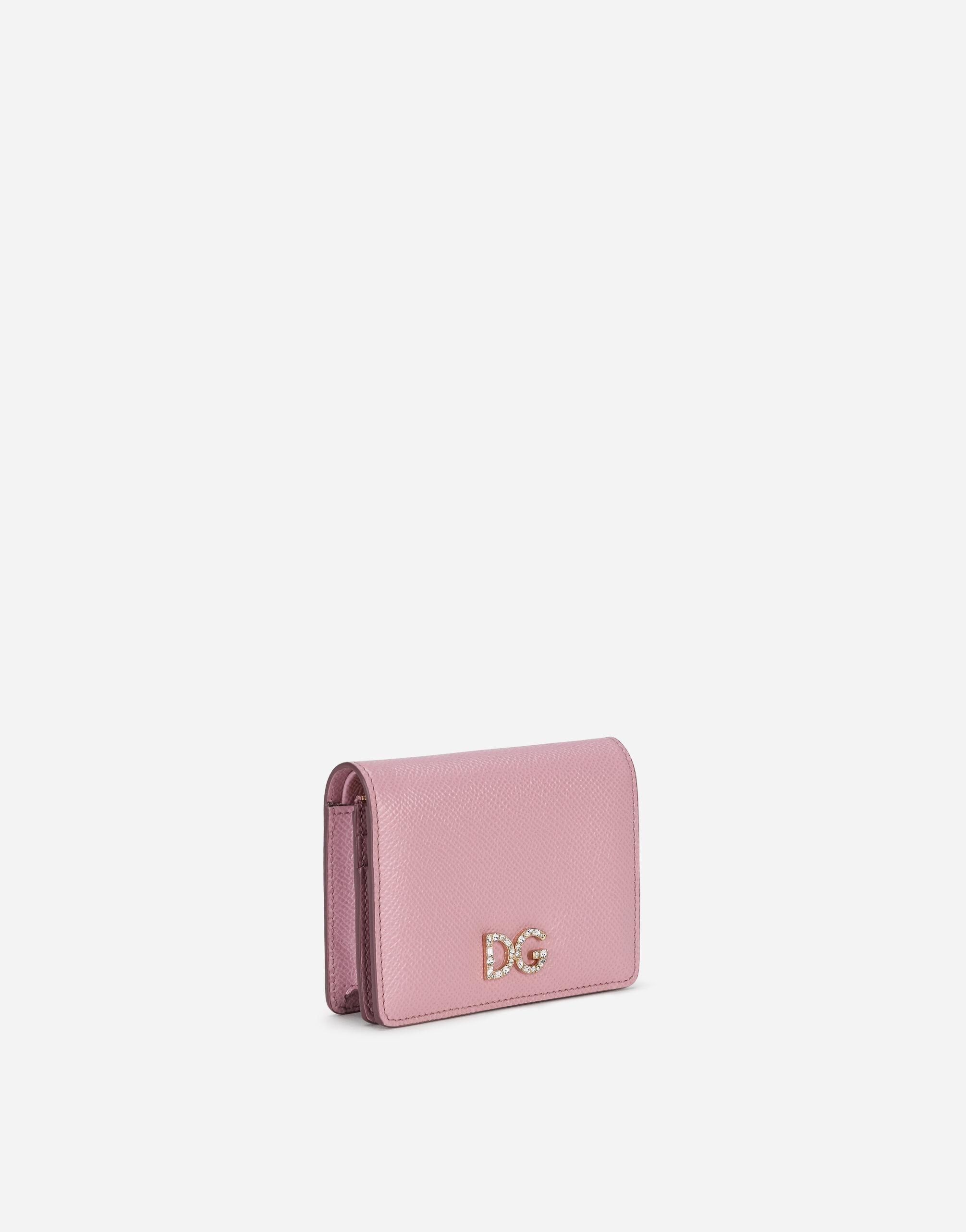 Small continental wallet in dauphine calfskin with rhinestone DG logo 1