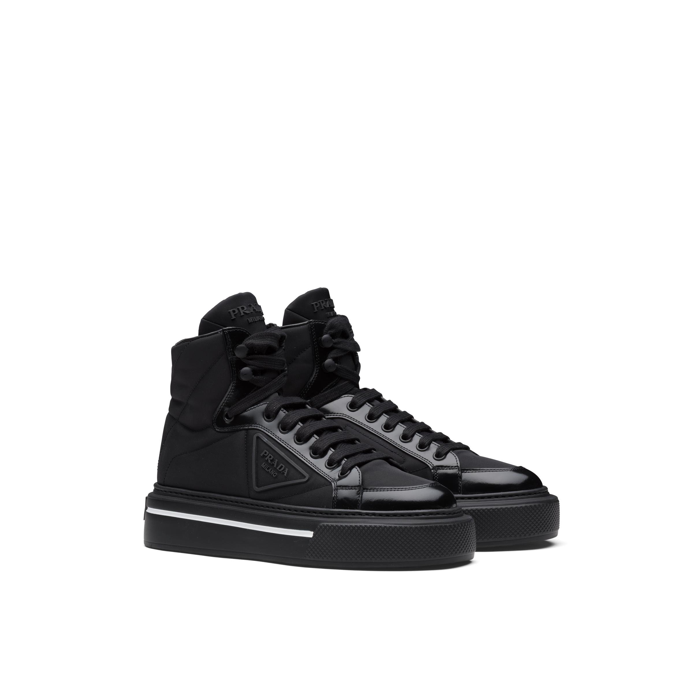Macro Re-nylon And Brushed Leather High-top Sneakers Women Black