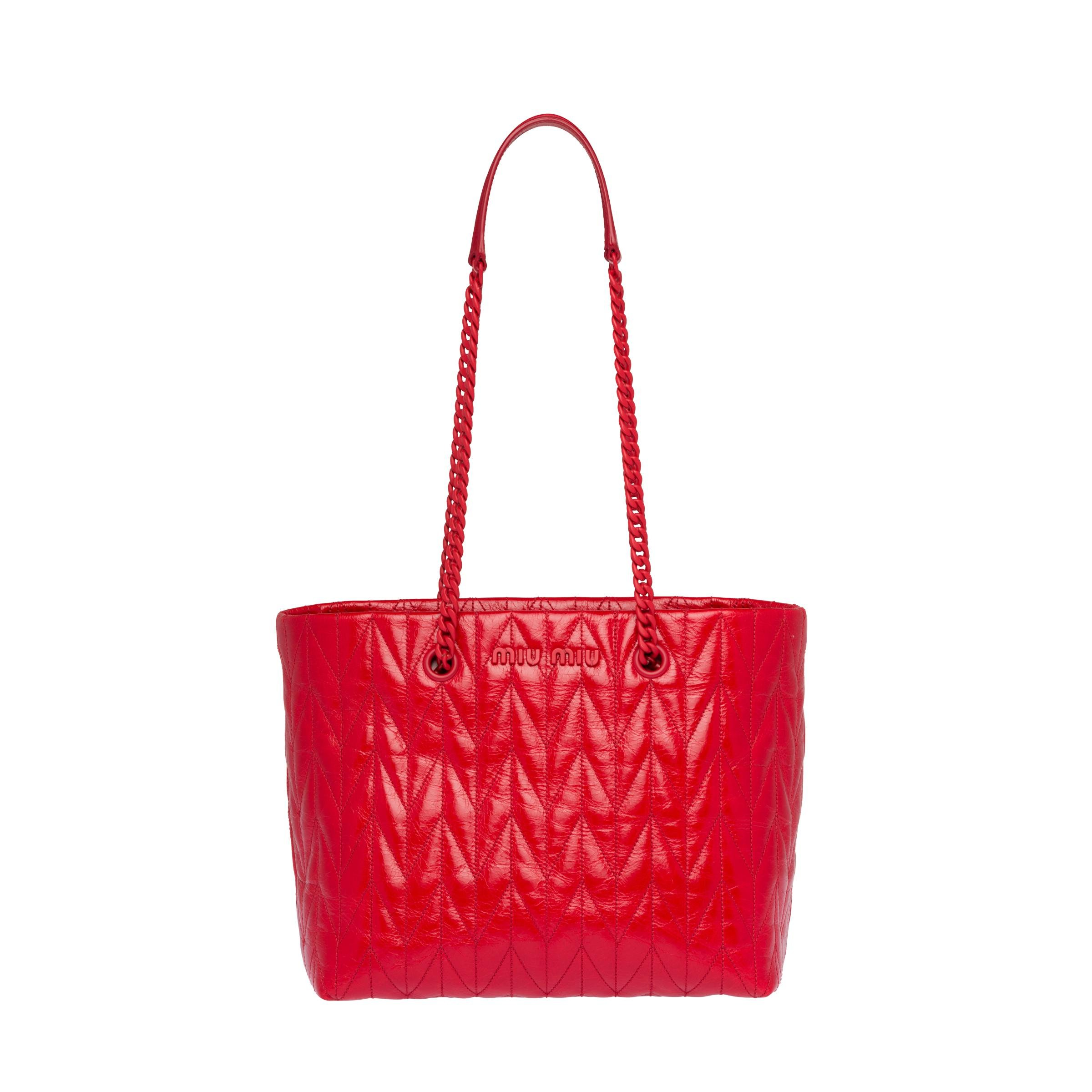 Quilted Shiny Leather Tote Bag Women Red
