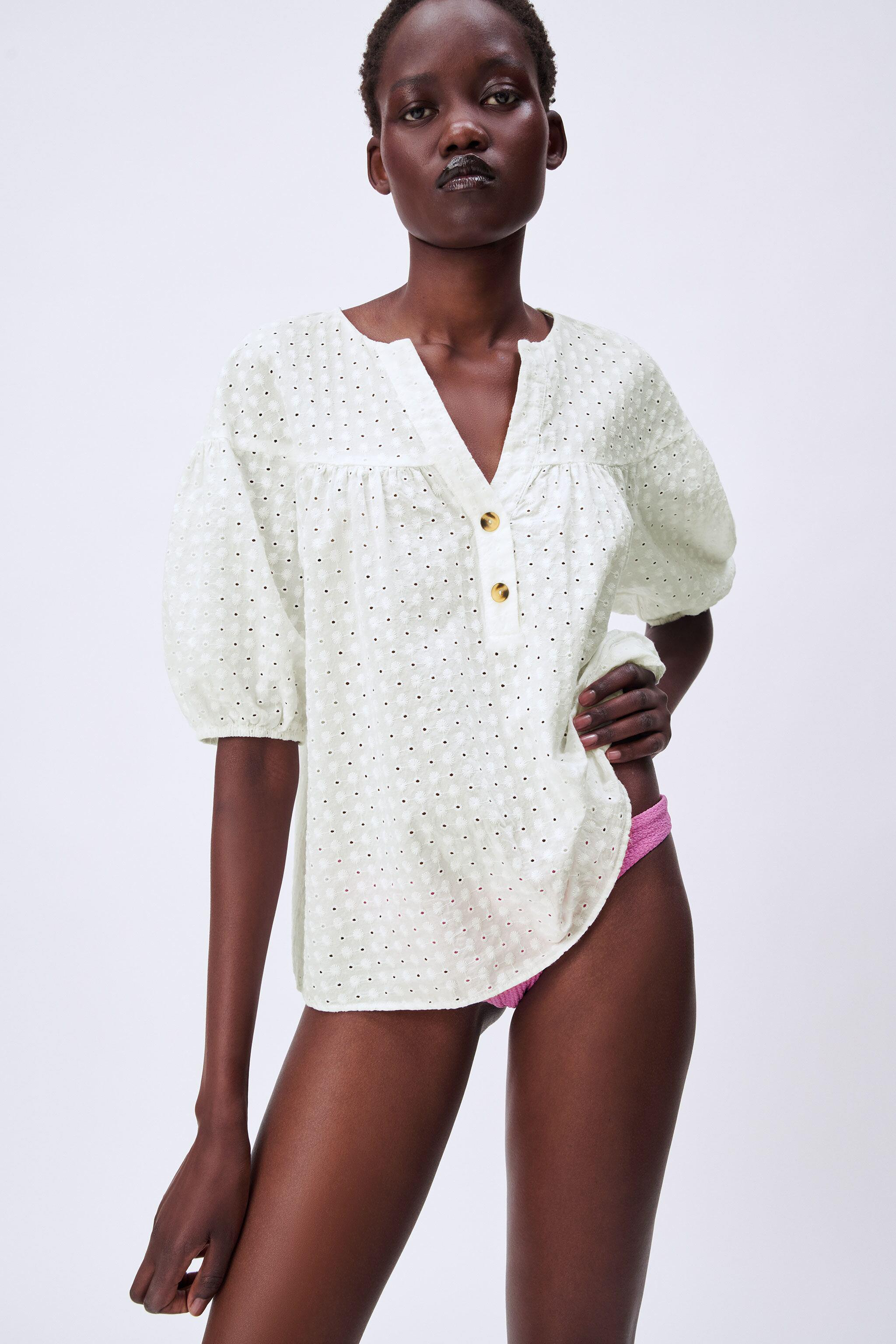 EMBROIDERED EYELET BLOUSE 1