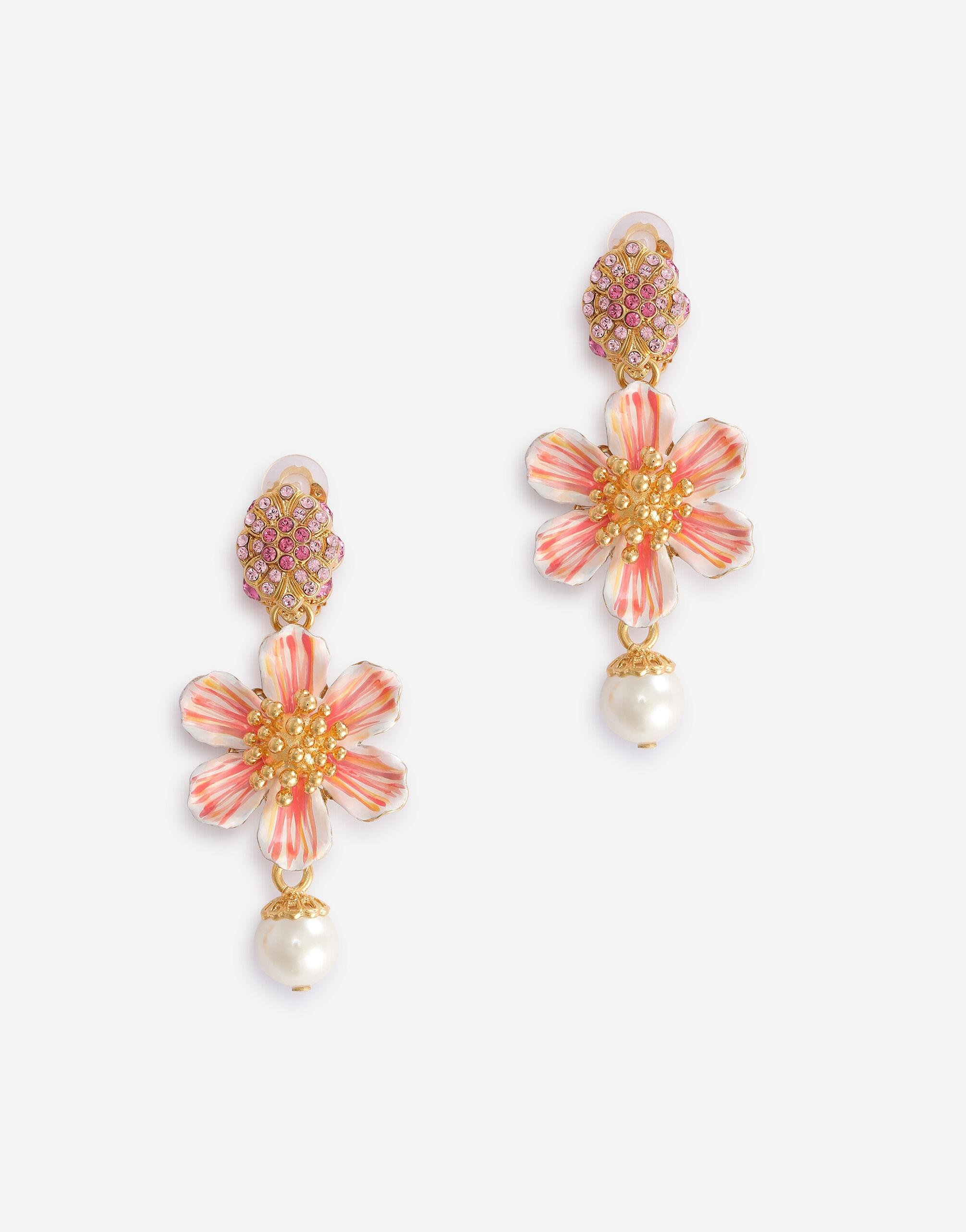 Clip-on earrings with hand-painted flower and rhinestones