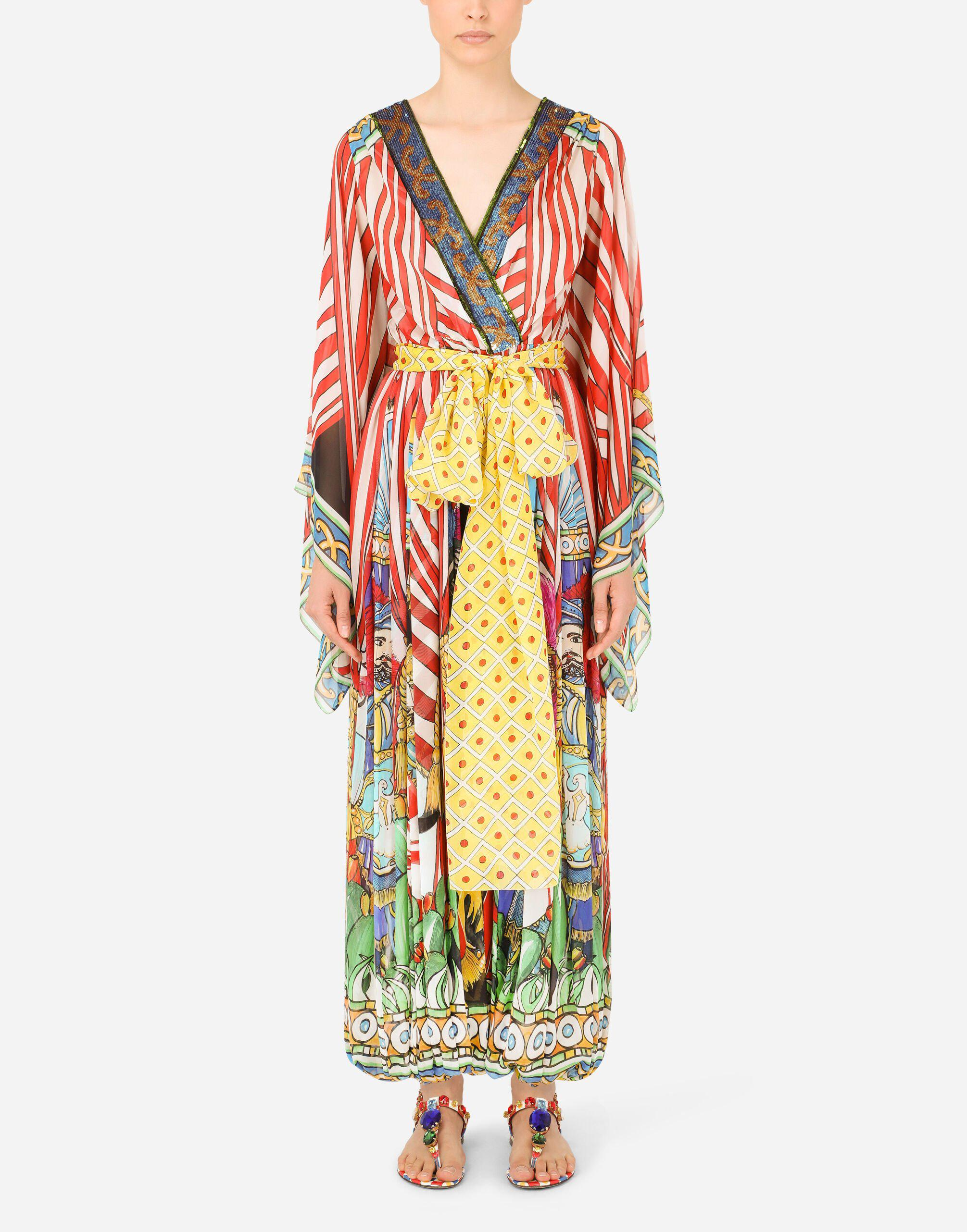 Carretto-print chiffon jumpsuit with sequined detailing