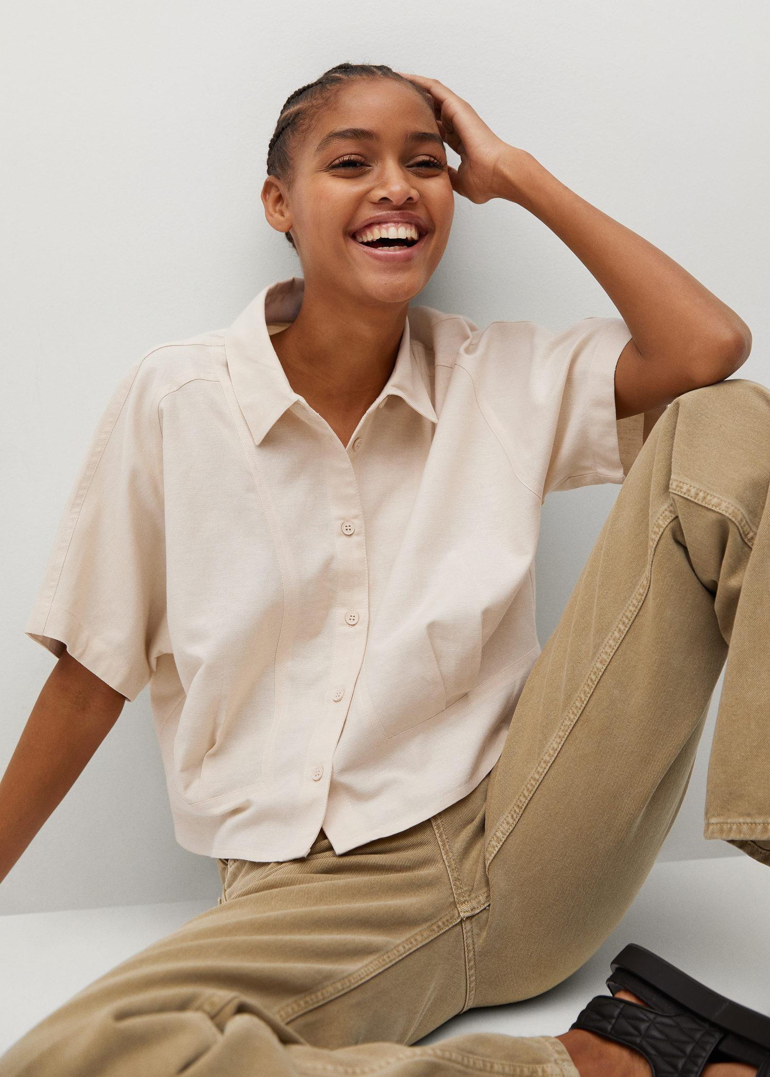 Pleated cropped shirt 4