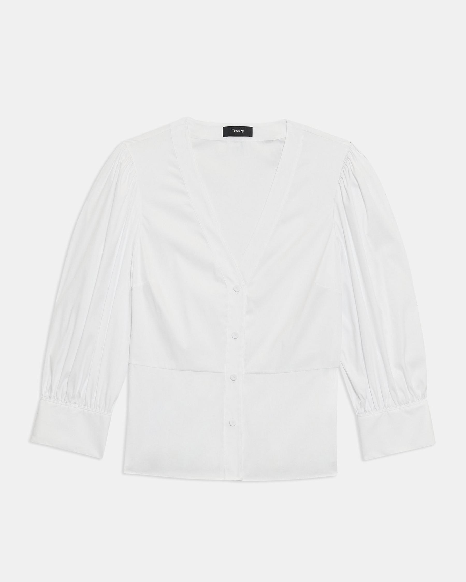 Gathered-Sleeve Top in Good Cotton 5